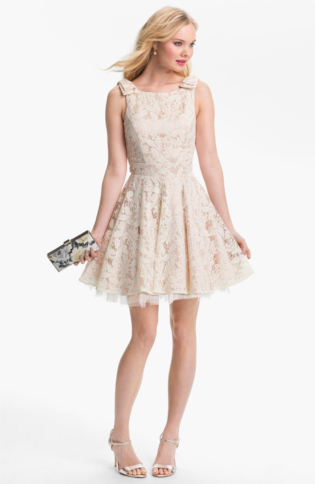 Alternate Image 1 Selected - Way-In Lace Skater Dress & Accessories