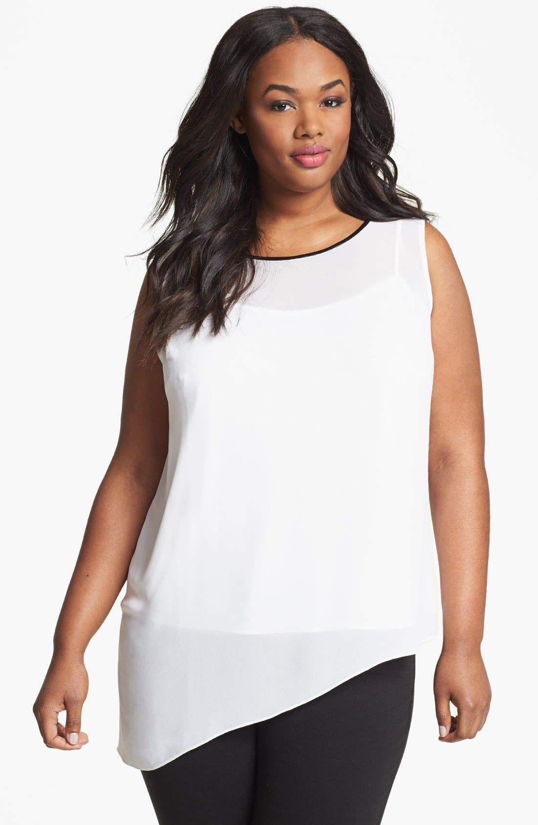 Alternate Image 1 Selected - DKNYC Asymmetrical Sleeveless Blouse (Plus Size)