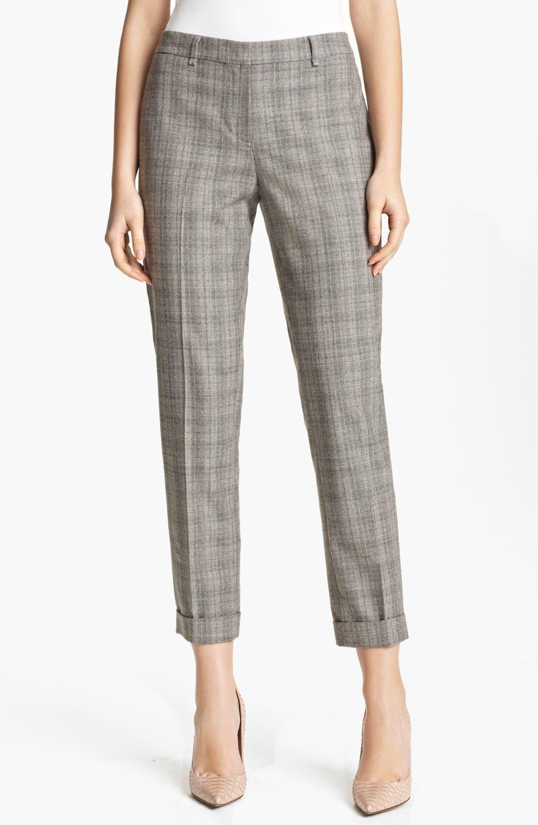 Alternate Image 1 Selected - Fabiana Filippi Check Stretch Wool Pants
