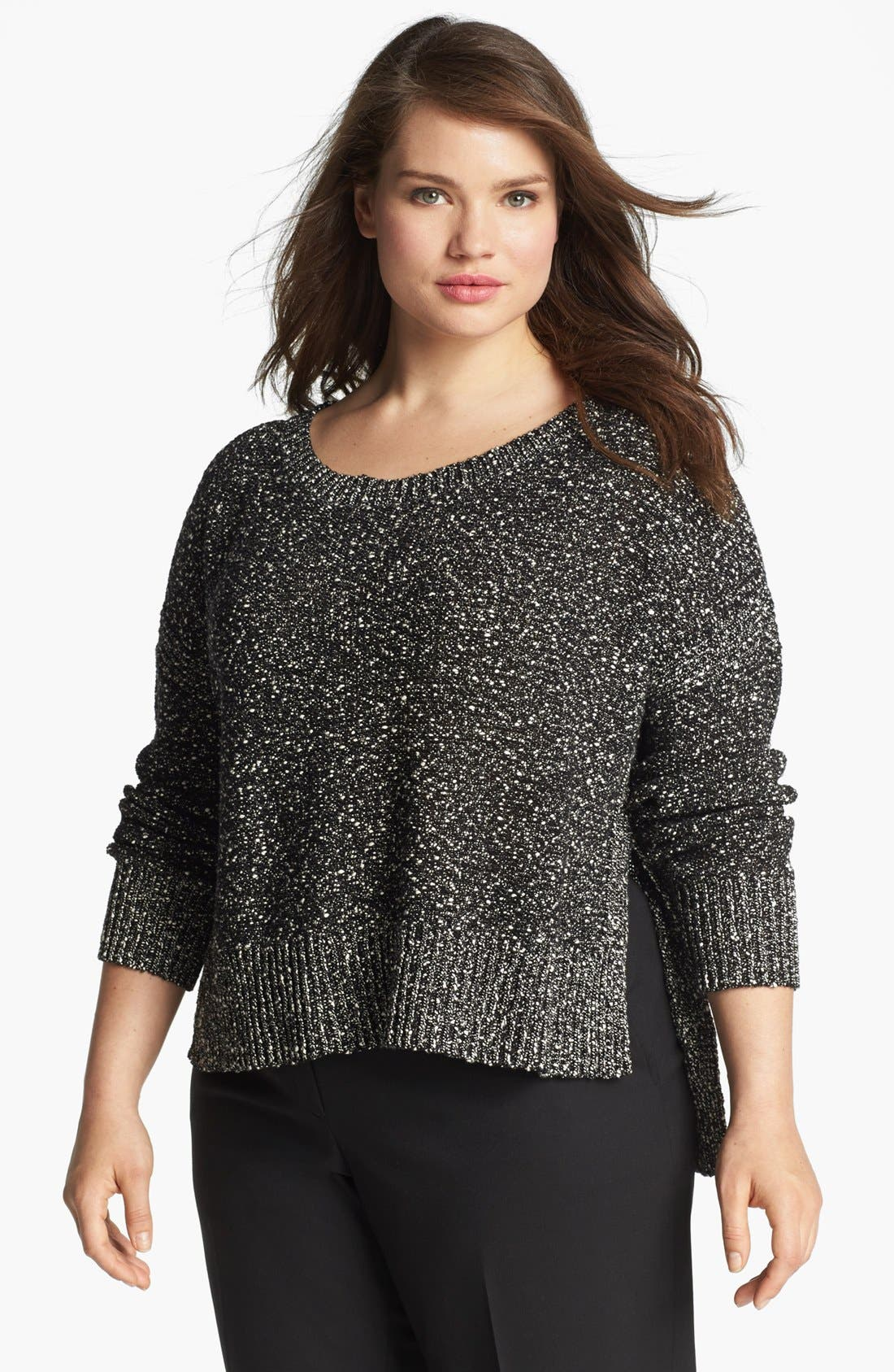 Alternate Image 1 Selected - Eileen Fisher Nubble High/Low Sweater (Plus Size)