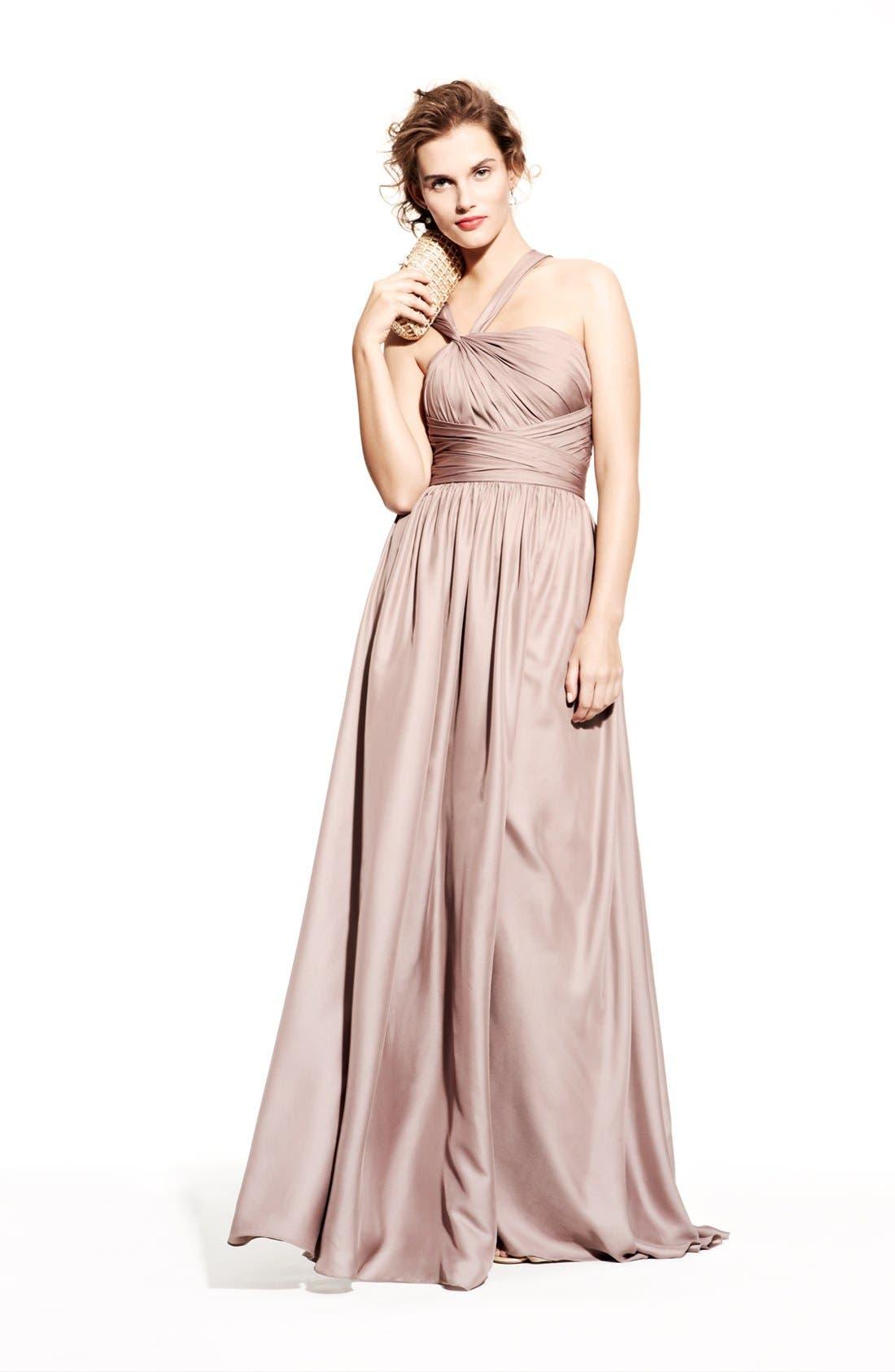 Alternate Image 4  - Monique Lhuillier Bridesmaids Twist Shoulder Satin Chiffon Gown (Nordstrom Exclusive)