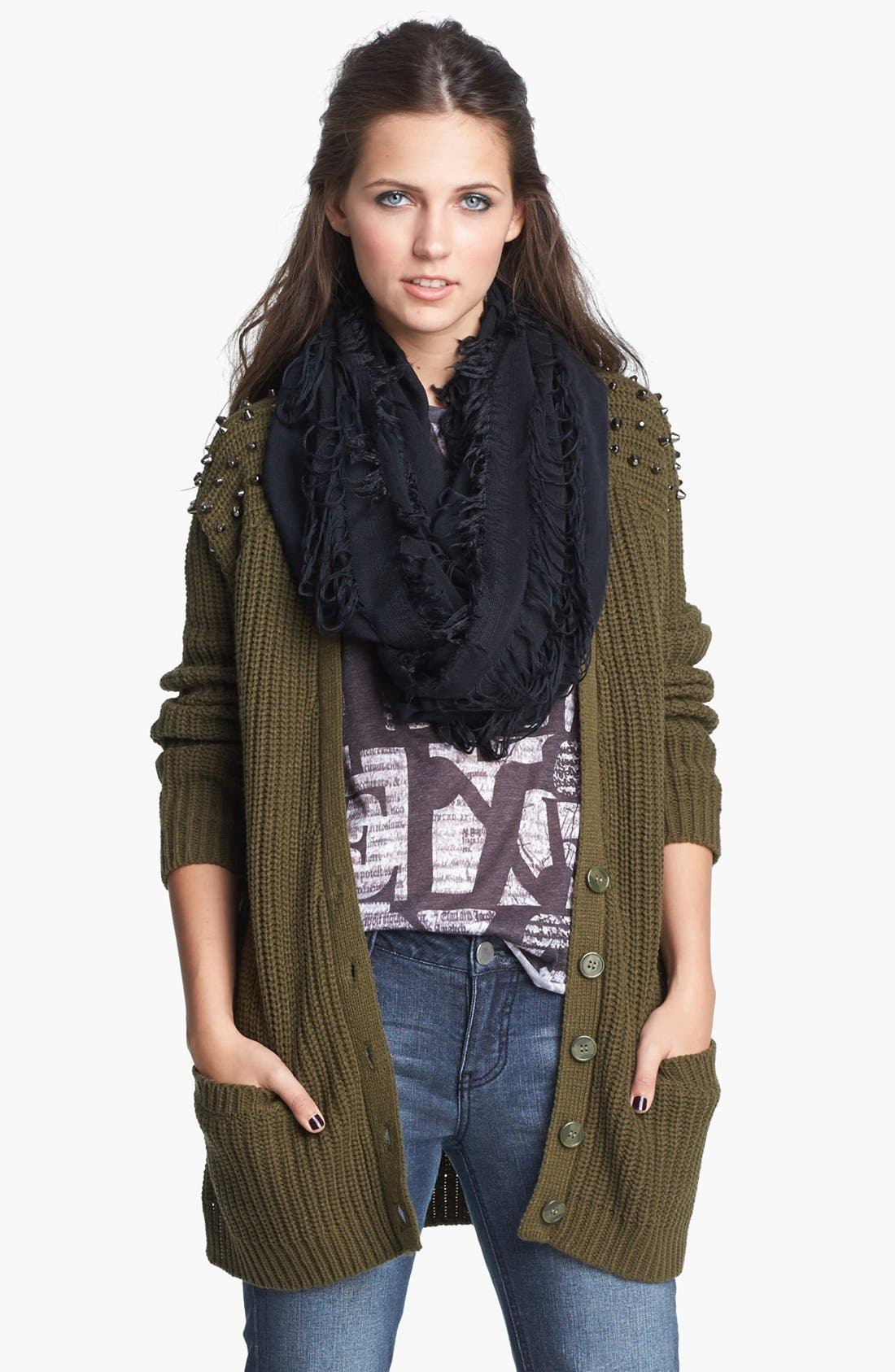 Main Image - Love By Design Studded Long Cardigan (Juniors)
