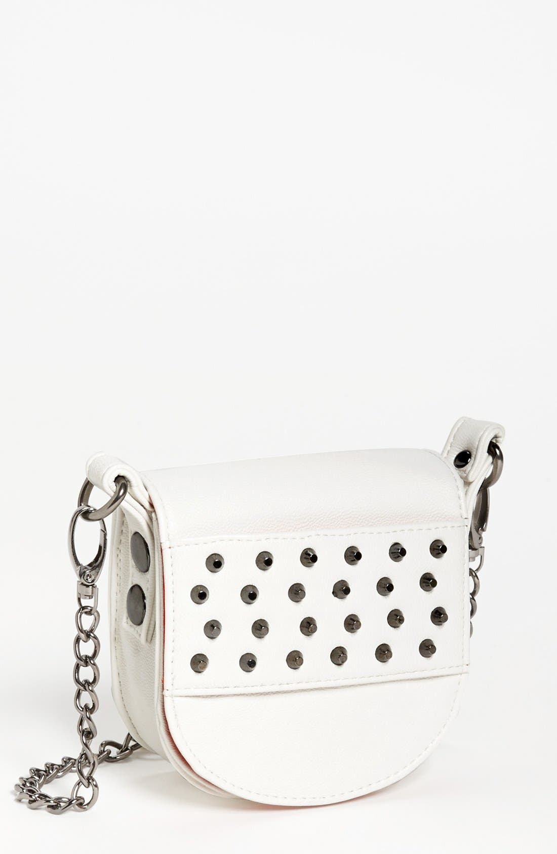 Alternate Image 1 Selected - POVERTY FLATS by rian Studded Faux Leather Mini Crossbody Bag