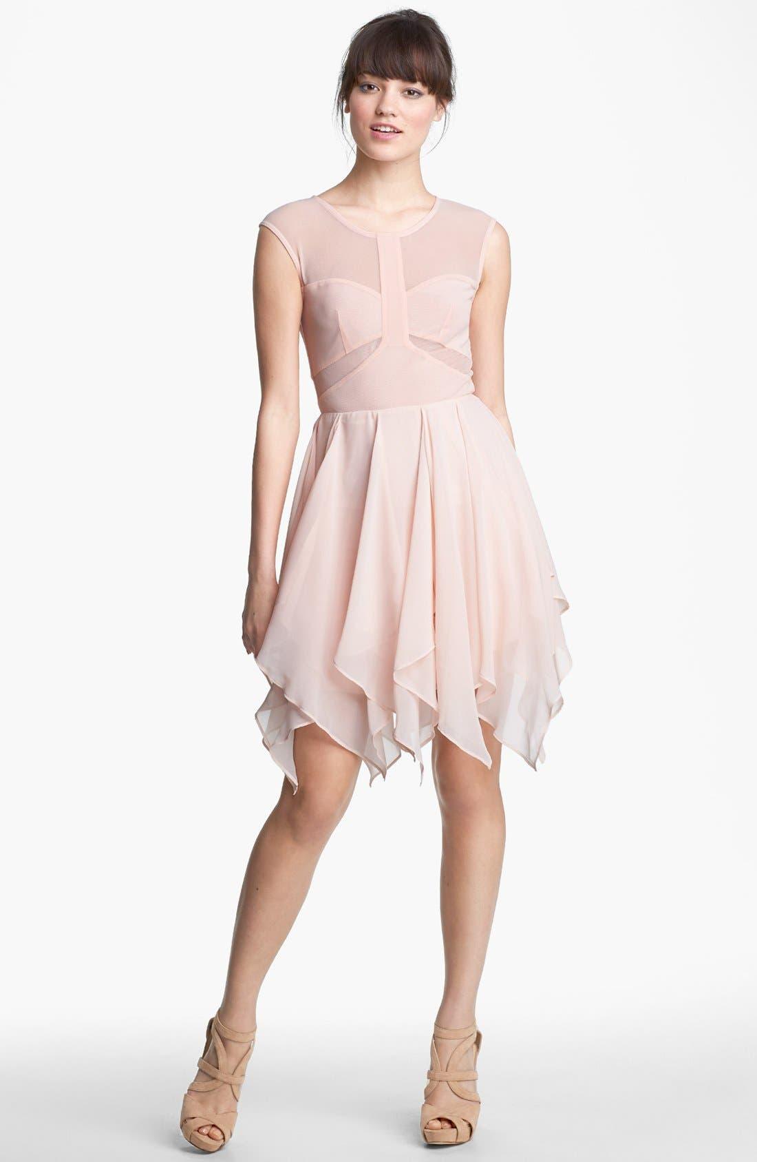Alternate Image 1 Selected - En Crème Cap Sleeve Corkscrew Dress (Juniors)