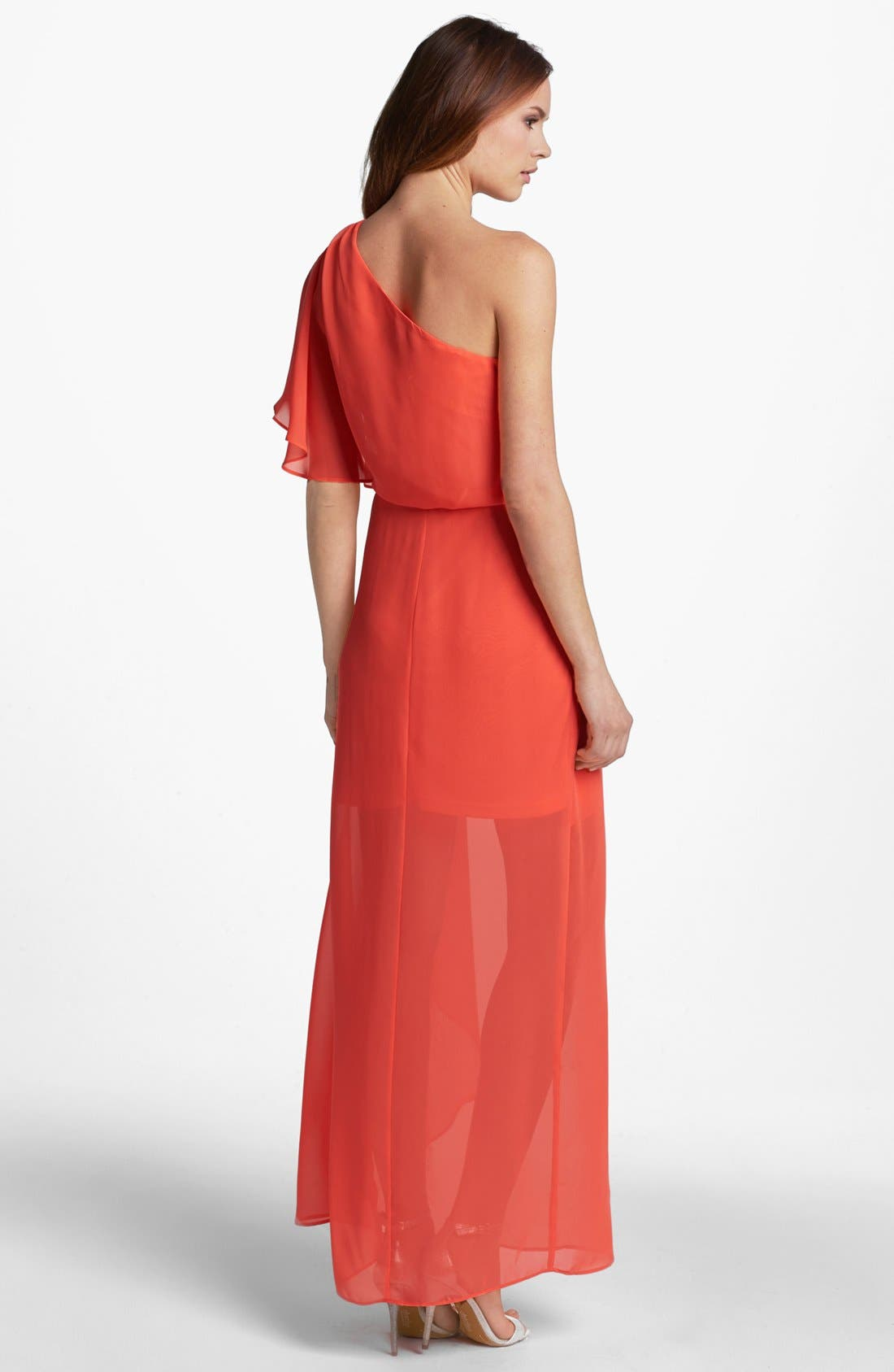 Alternate Image 2  - Hailey by Adrianna Papell One Shoulder Chiffon Dress