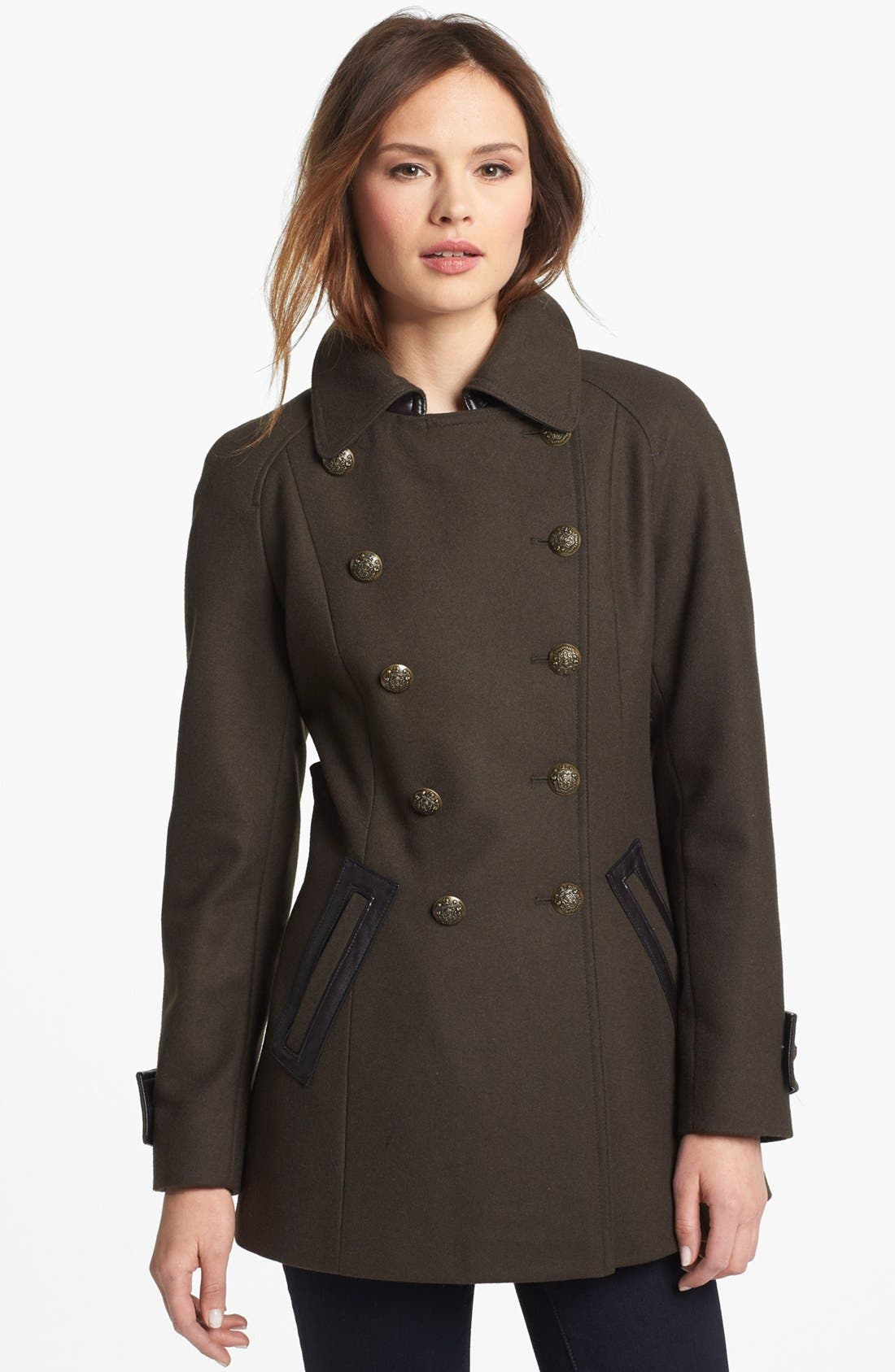 Alternate Image 2  - DKNY Double Breasted Military Peacoat
