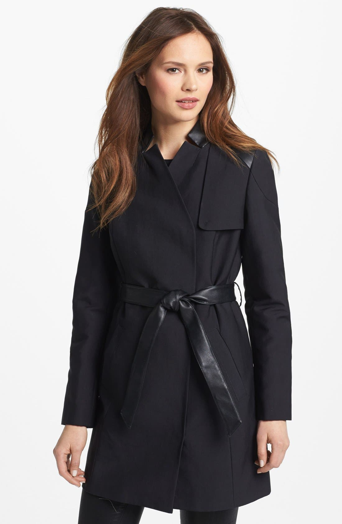 Alternate Image 1 Selected - French Connection Faux Leather Trim Trench Coat (Online Only)