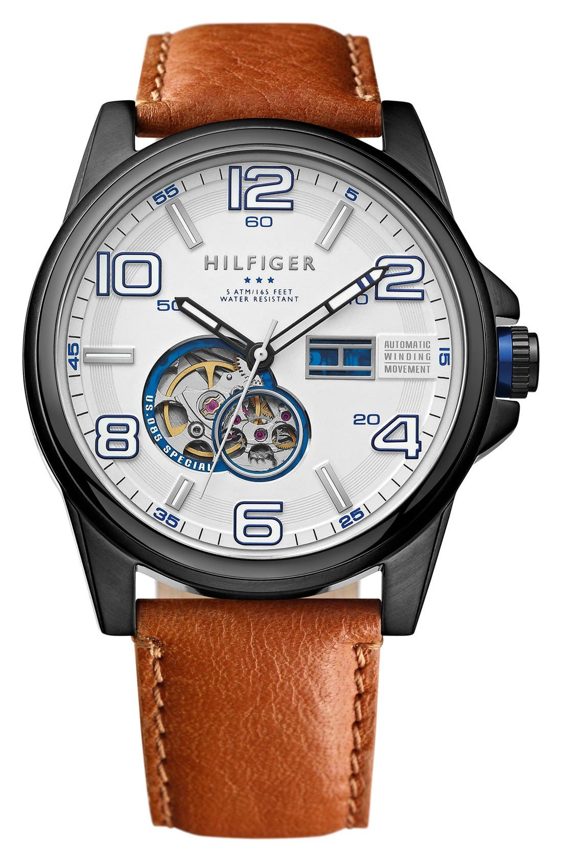 Main Image - Tommy Hilfiger Automatic Leather Strap Watch, 46mm