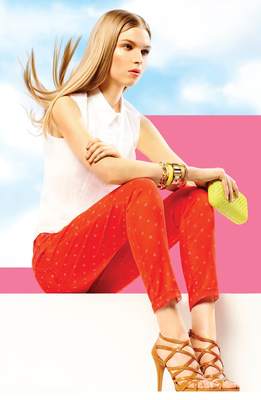 Alternate Image 6  - Two by Vince Camuto 'Shorty' Star Print Jeans (Fiery Red)