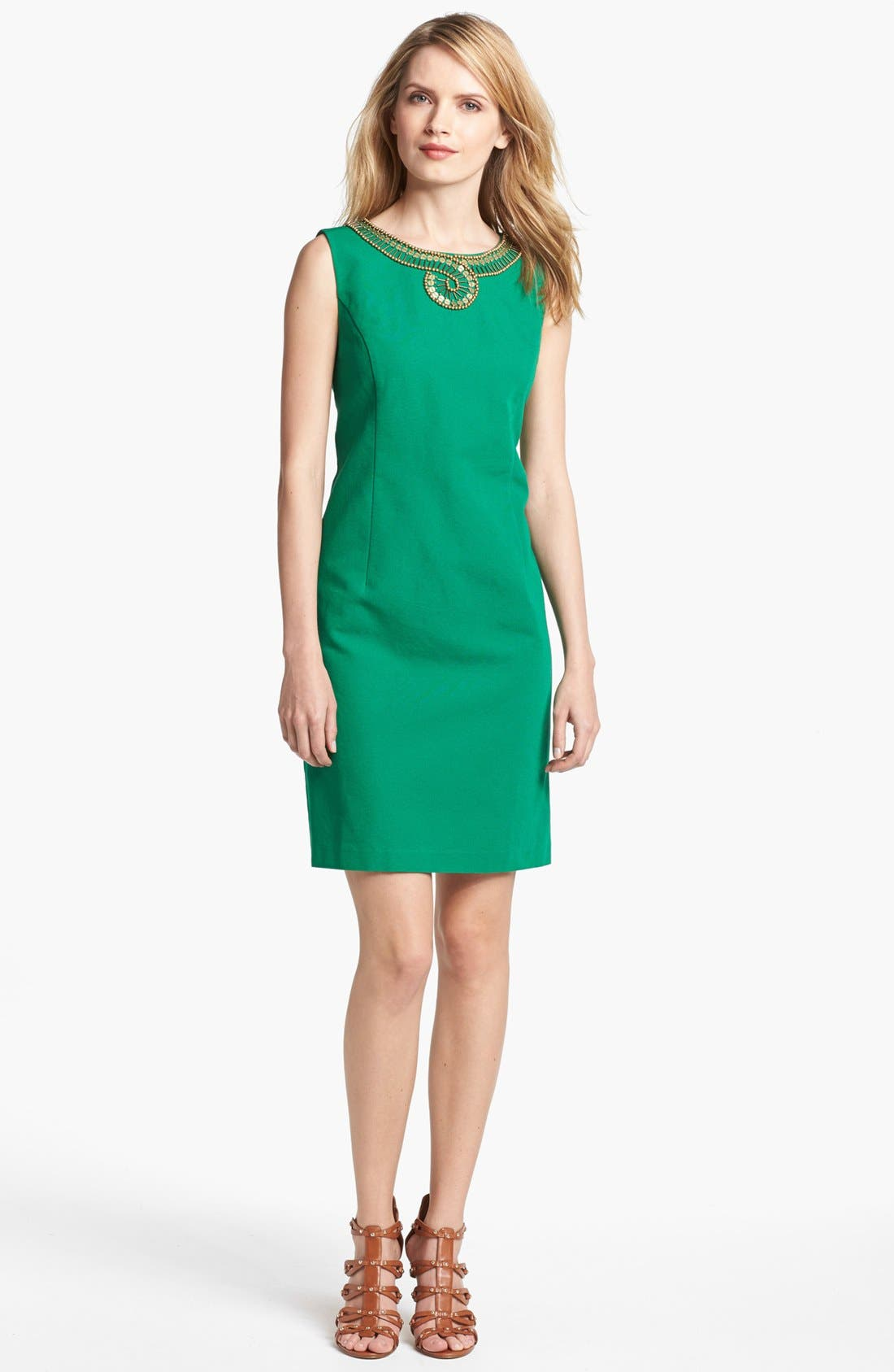 Alternate Image 1 Selected - Ellen Tracy Embellished Cotton Sheath Dress
