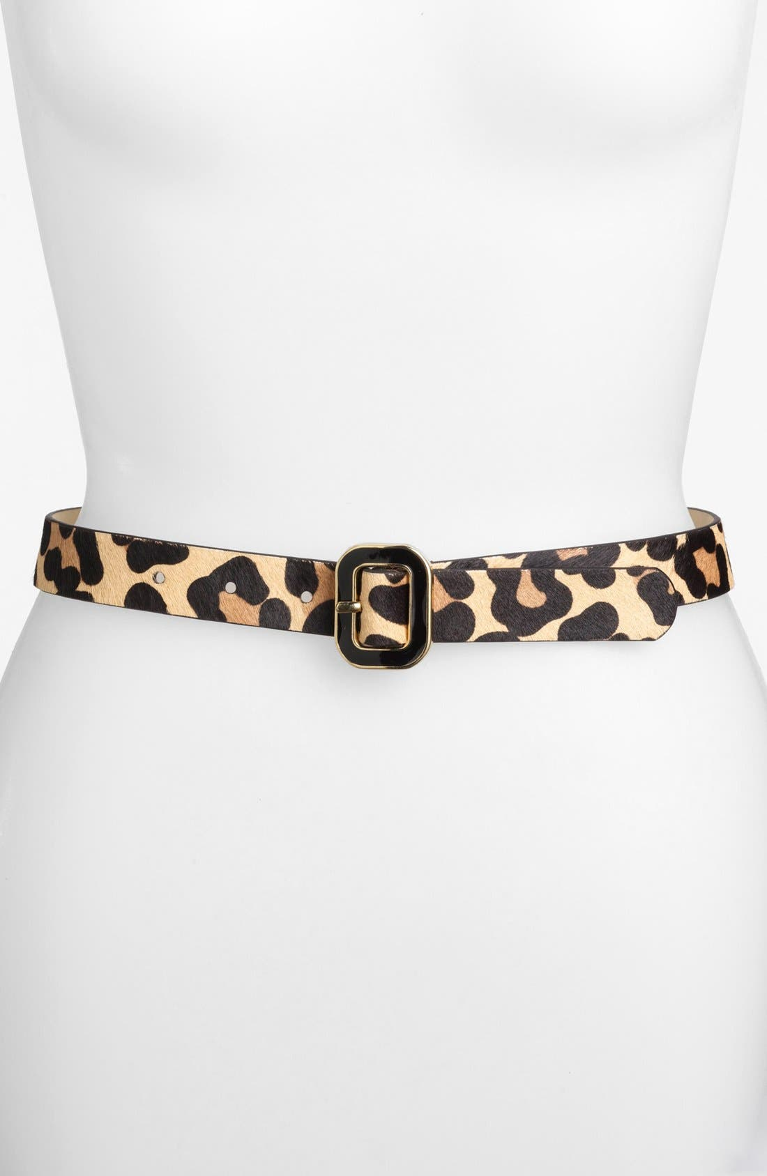 Alternate Image 1 Selected - Another Line Leopard Print Calf Hair Belt