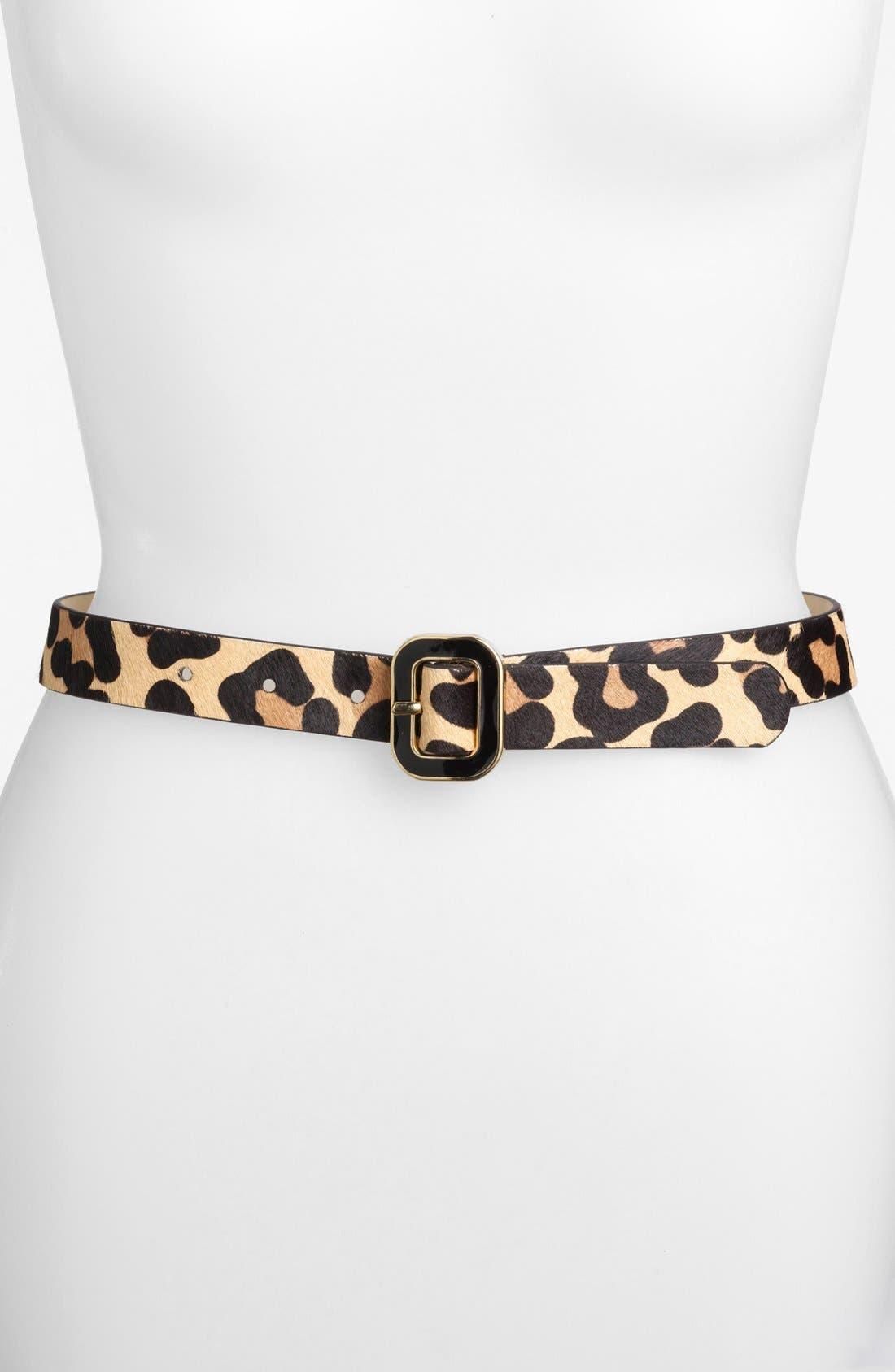 Main Image - Another Line Leopard Print Calf Hair Belt