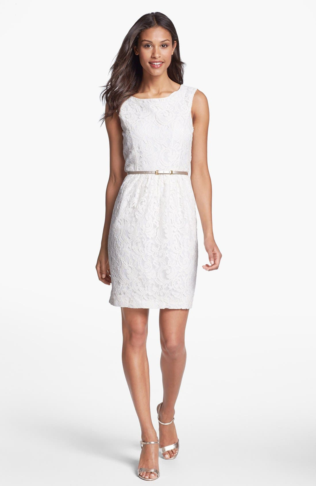 Main Image - Ellen Tracy Belted Lace Sheath Dress