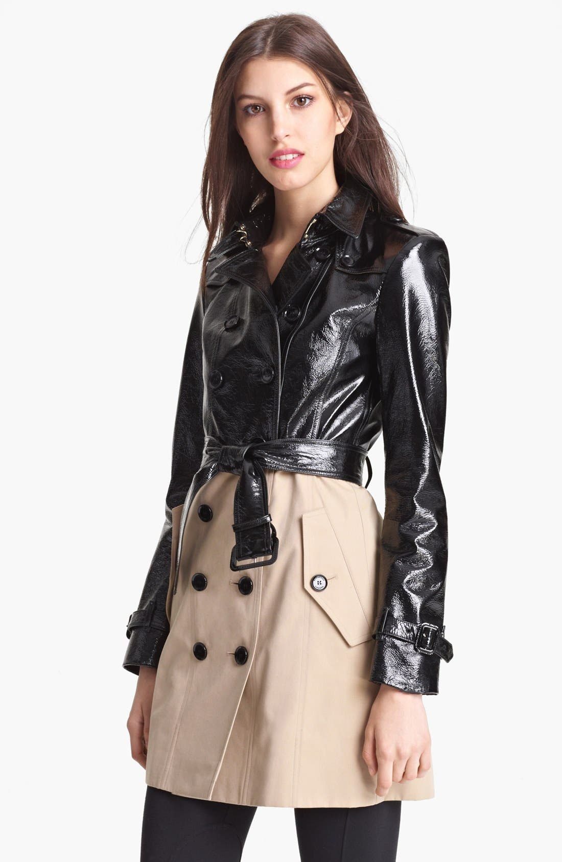 Main Image - Burberry London Belted Patent Leather & Gabardine Trench