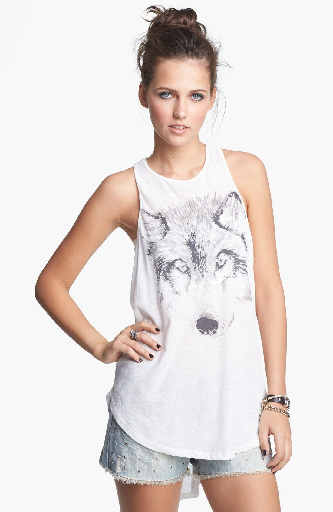 Alternate Image 1 Selected - Lush Wolf Graphic High/Low Tank (Juniors)