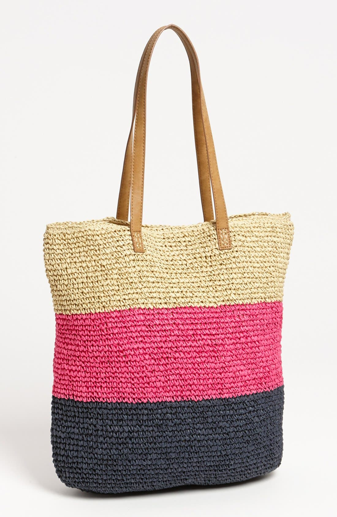 Alternate Image 1 Selected - Straw Studios Crochet Stripe Tote