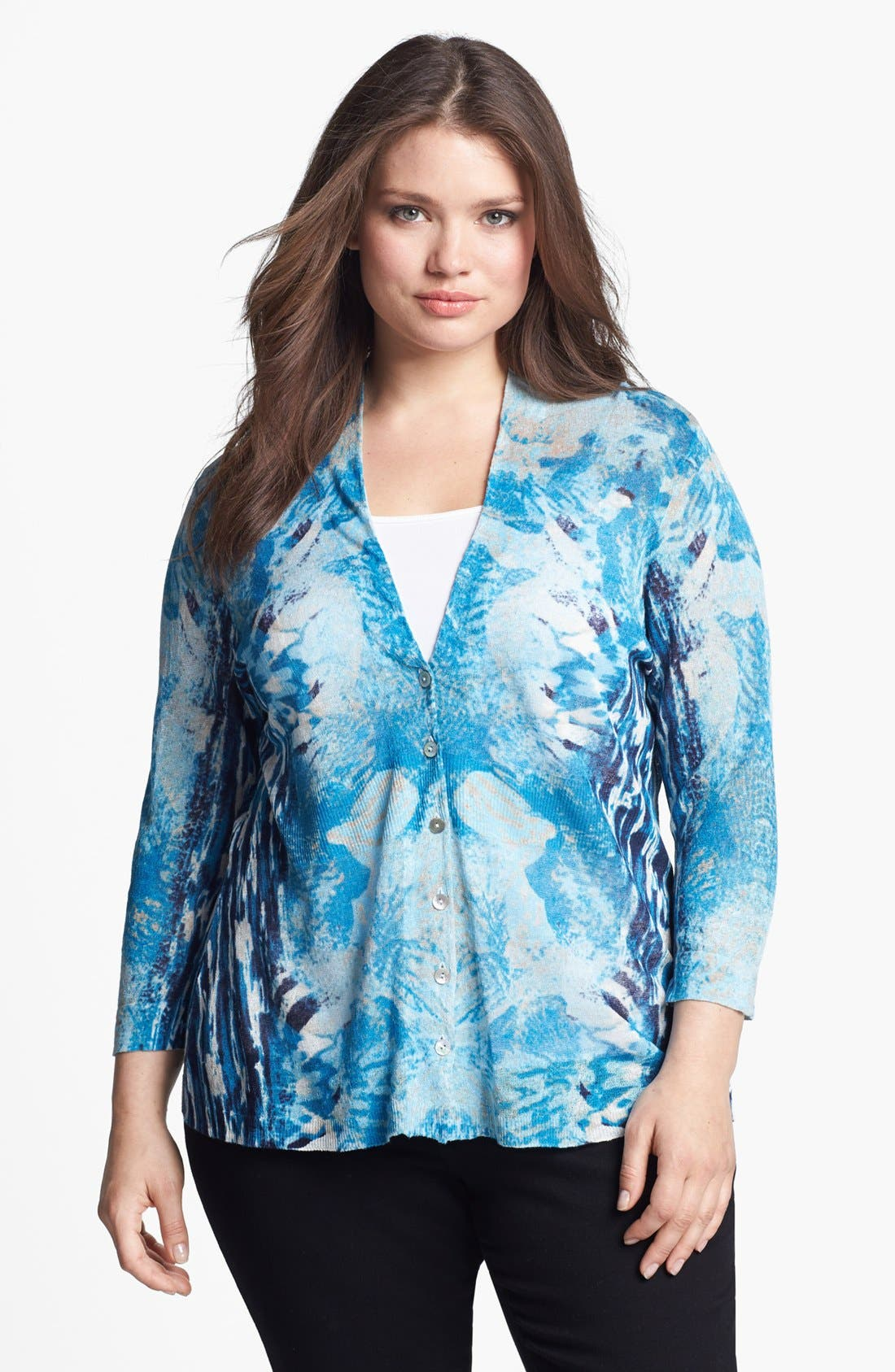 Main Image - Nic + Zoe 'High Tide' Print Cardigan (Plus Size)