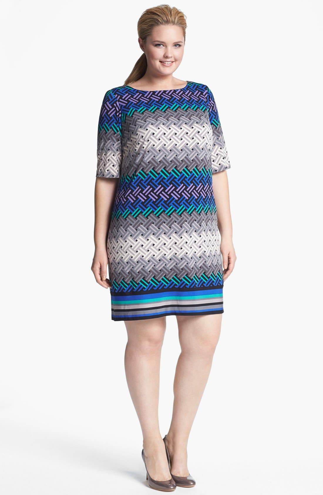 Alternate Image 1 Selected - Eliza J Print Shift Dress (Plus Size) (Online Only)