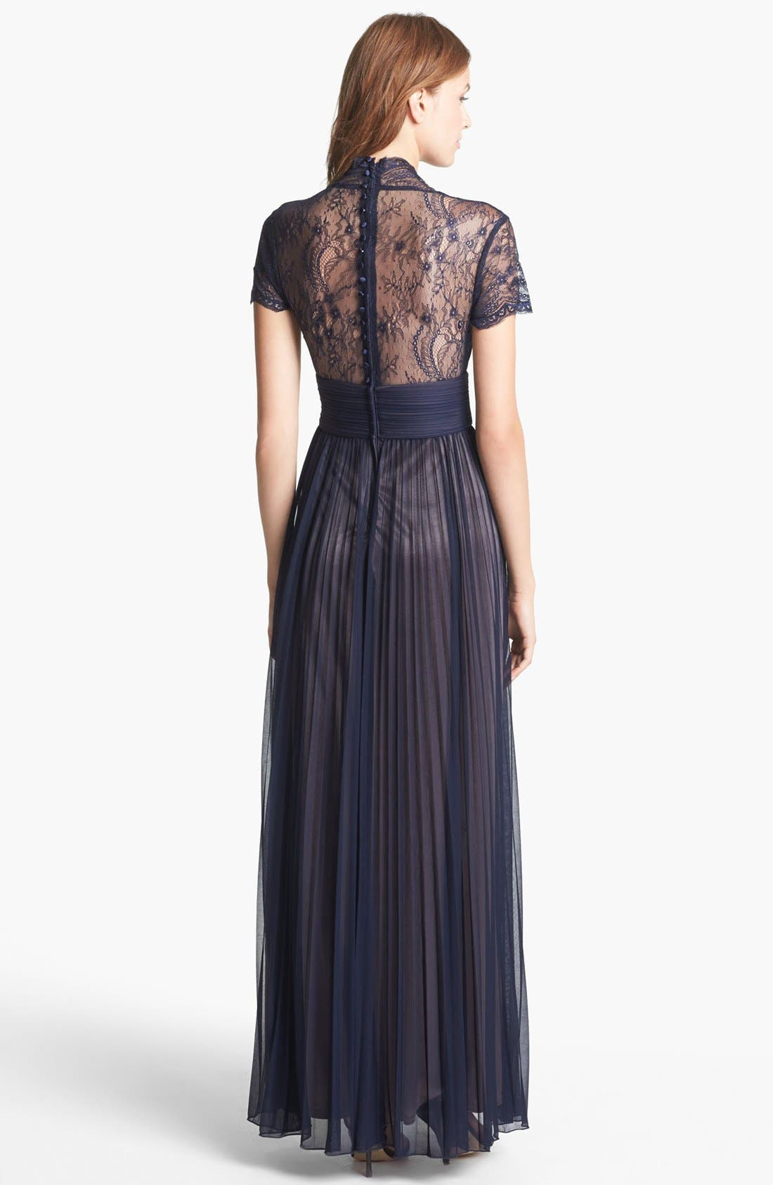 Alternate Image 2  - Betsy & Adam Lace Sleeve Pleated Mesh Gown