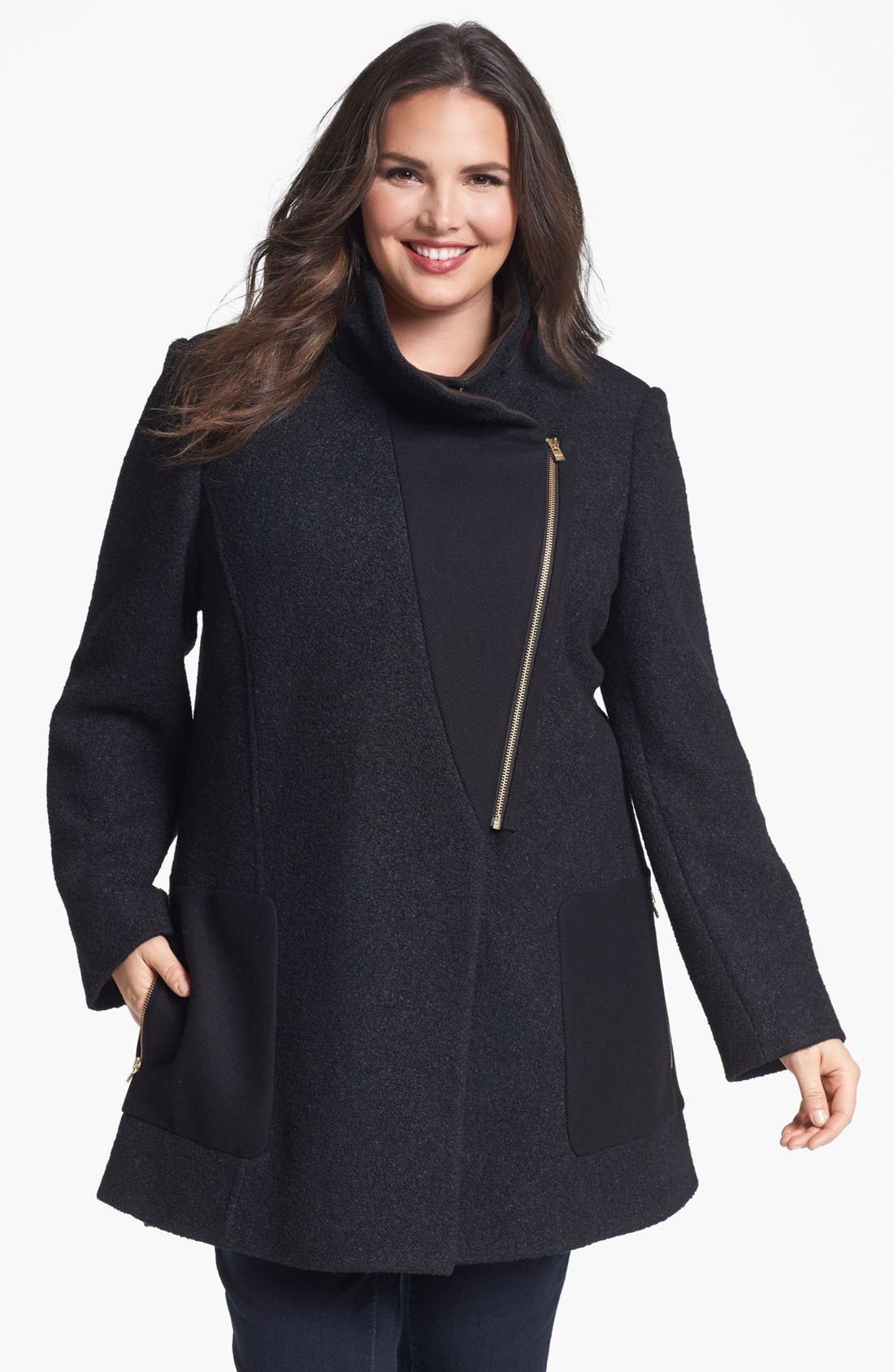 Main Image - DKNY Asymmetrical Mixed Media Coat (Plus Size) (Online Only)
