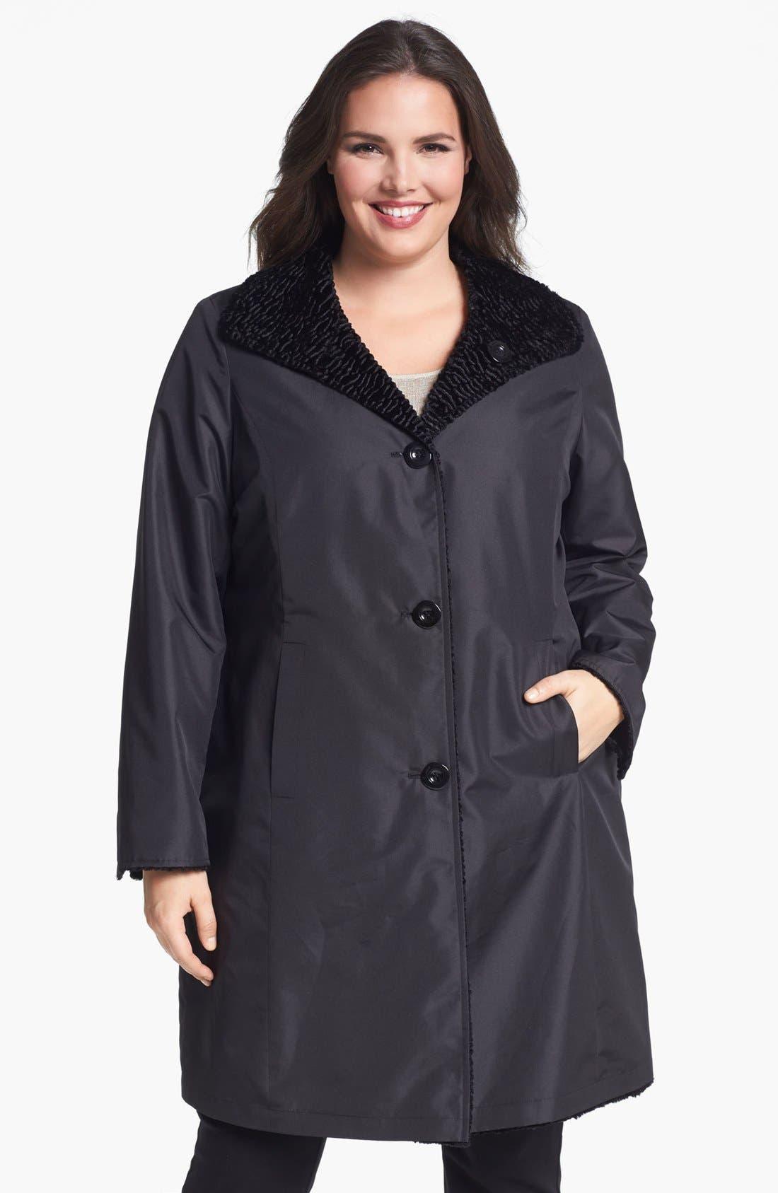 Alternate Image 2  - Ellen Tracy Reversible Faux Persian Fur Coat (Plus Size) (Nordstrom Exclusive)