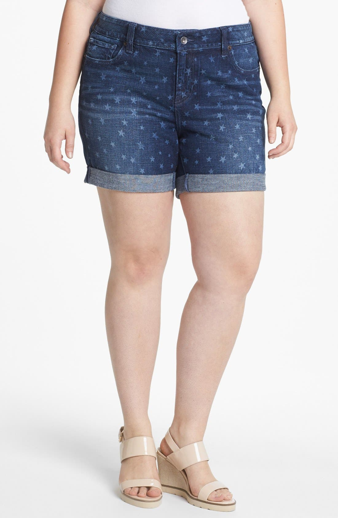 Main Image - Lucky Brand 'Americana' Denim Shorts (Plus Size)