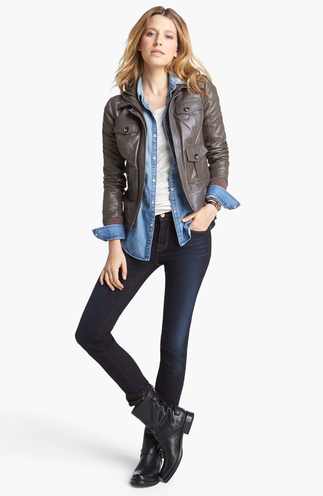 Alternate Image 6  - J Brand '8112 Mid Rise Rail' Skinny Jeans (Atlantis)