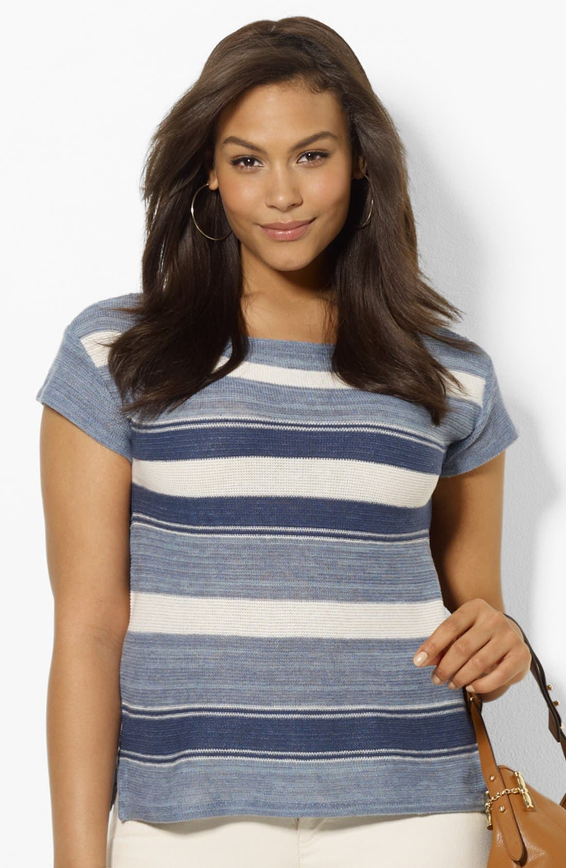 Alternate Image 1 Selected - Lauren Ralph Lauren Boatneck Cotton & Linen Tee (Plus Size)