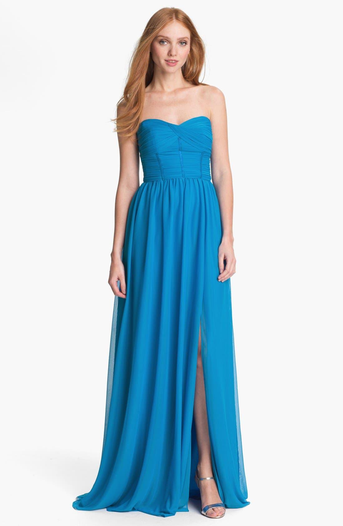 Main Image - ML Monique Lhuillier Bridesmaids Strapless Mesh Gown