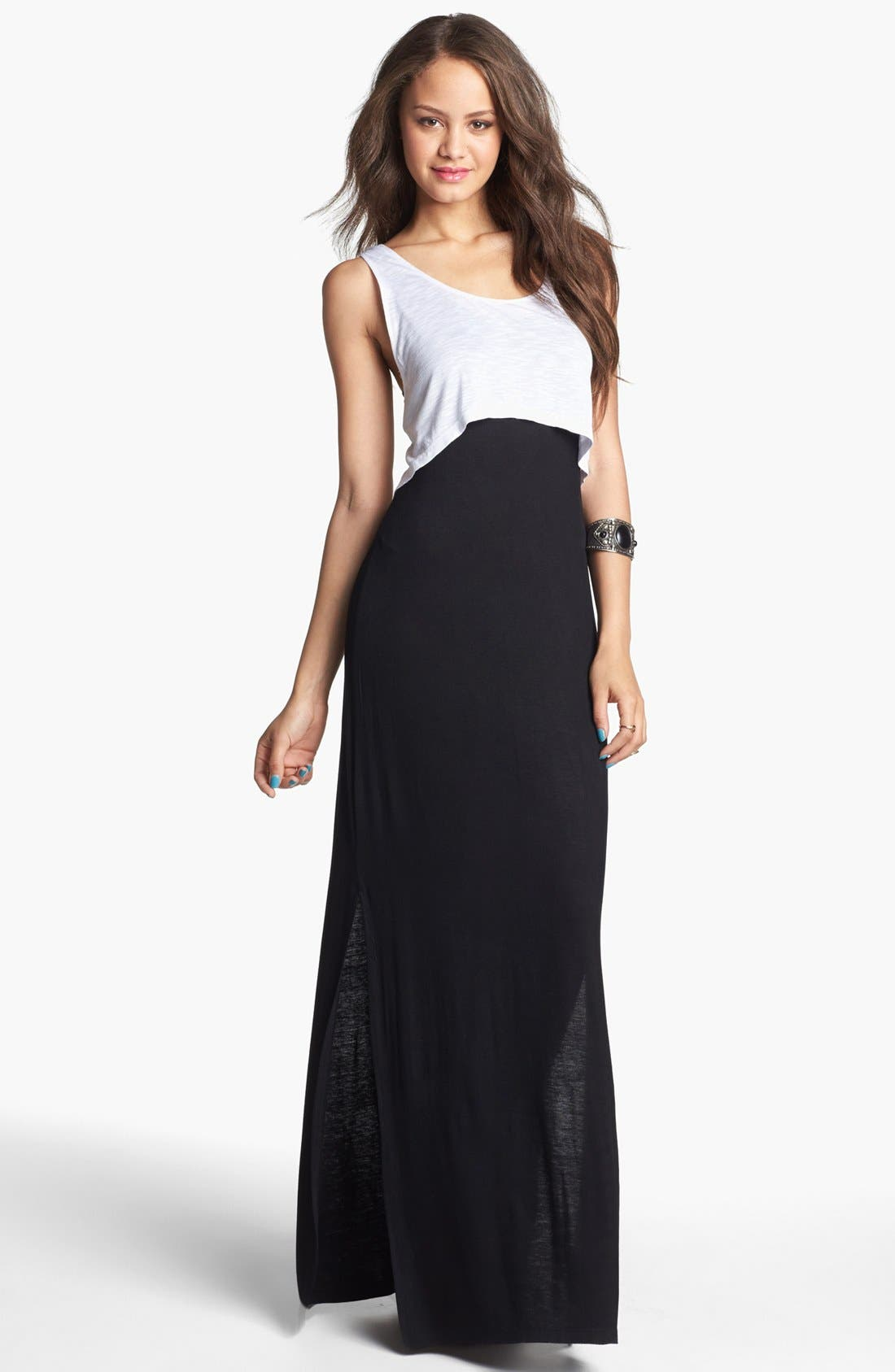 Alternate Image 1 Selected - Mimi Chica Crop Tank & Maxi Dress (Juniors)