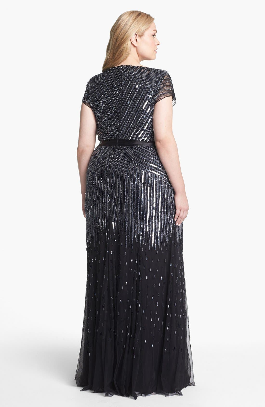 Alternate Image 2  - Adrianna Papell Sequin Mesh Gown (Plus Size)