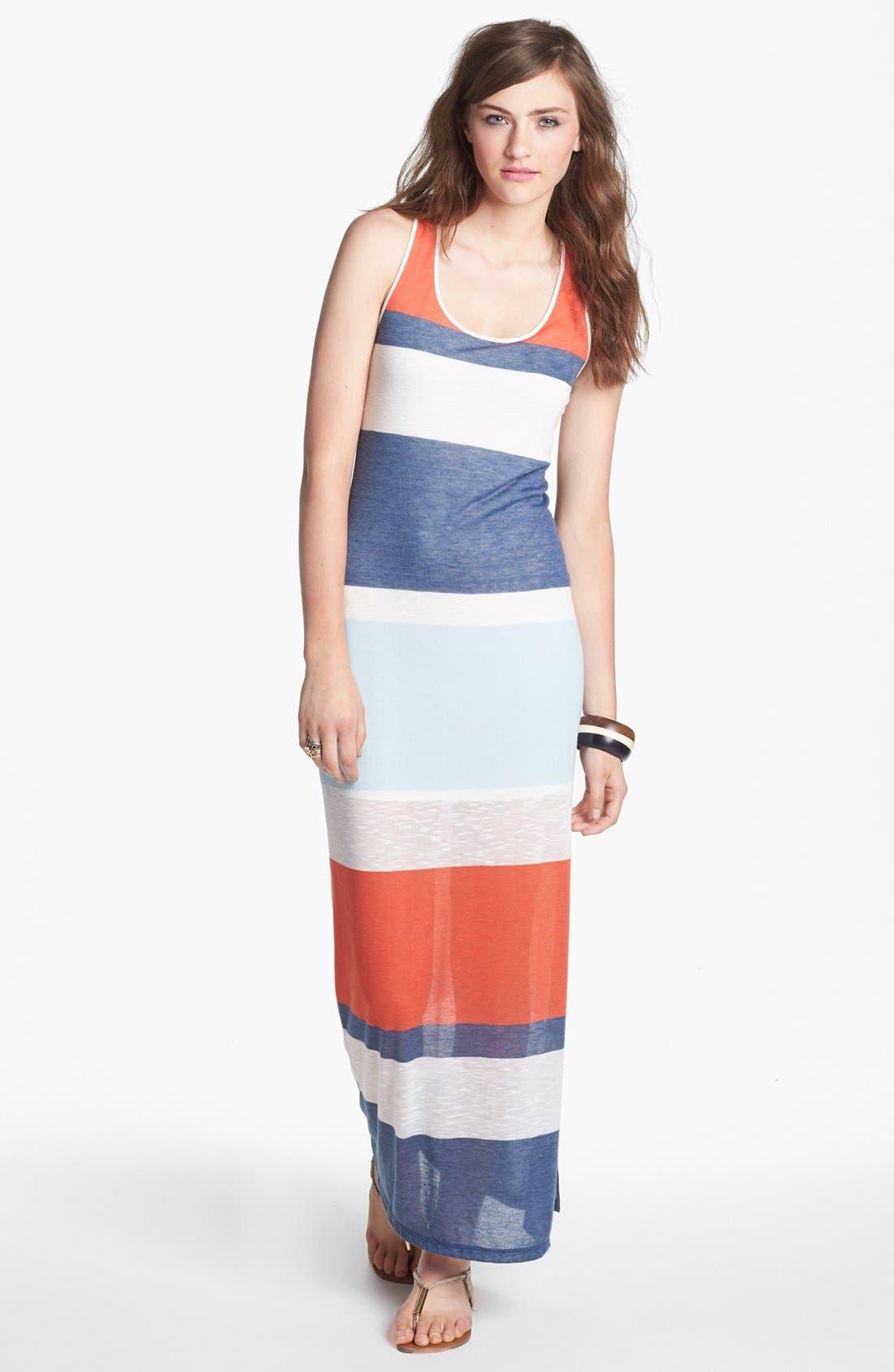 Main Image - Soprano Stripe Racerback Maxi Dress (Juniors)
