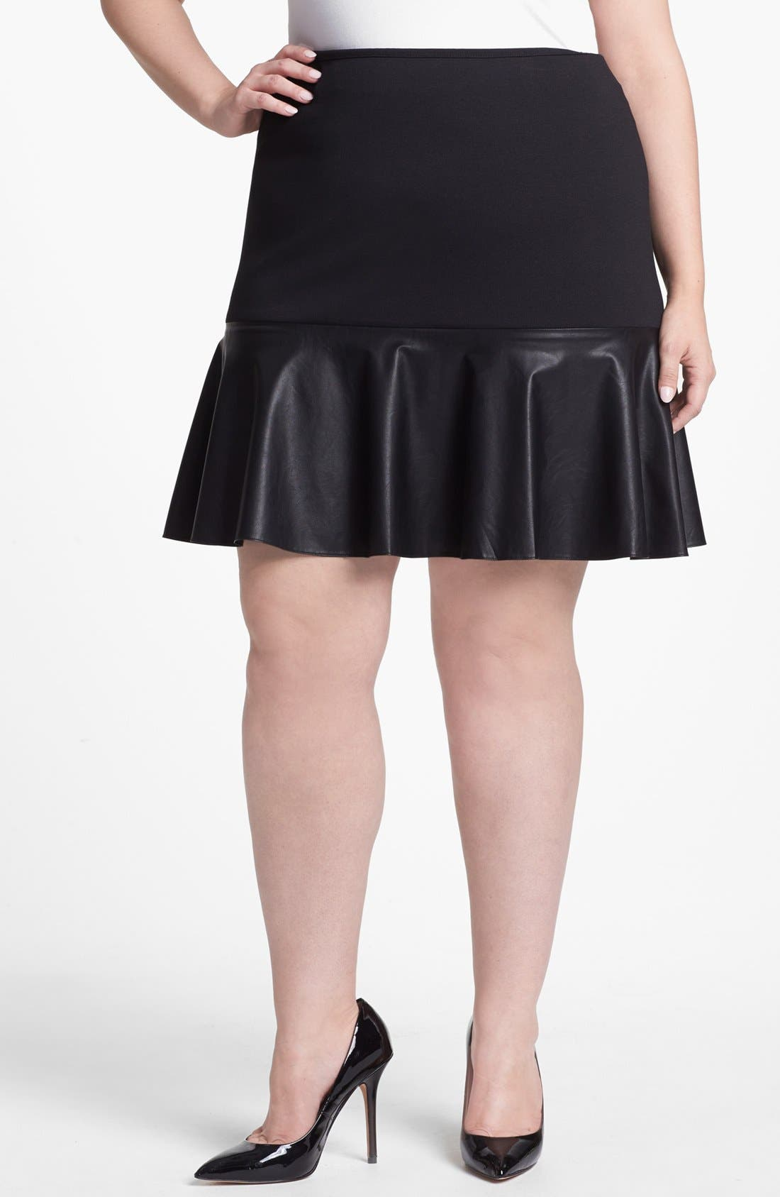 Main Image - Halogen® Faux Leather & Ponte Knit Skirt (Plus Size)