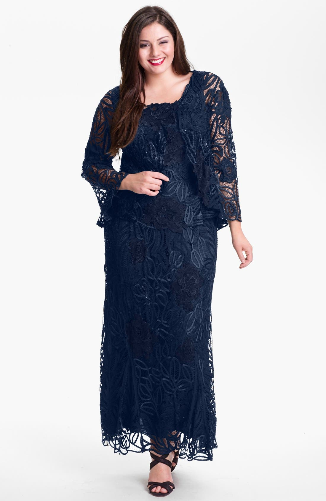 Alternate Image 1 Selected - Soulmates Three Piece Silk Crochet Set (Plus Size) (Online Only)