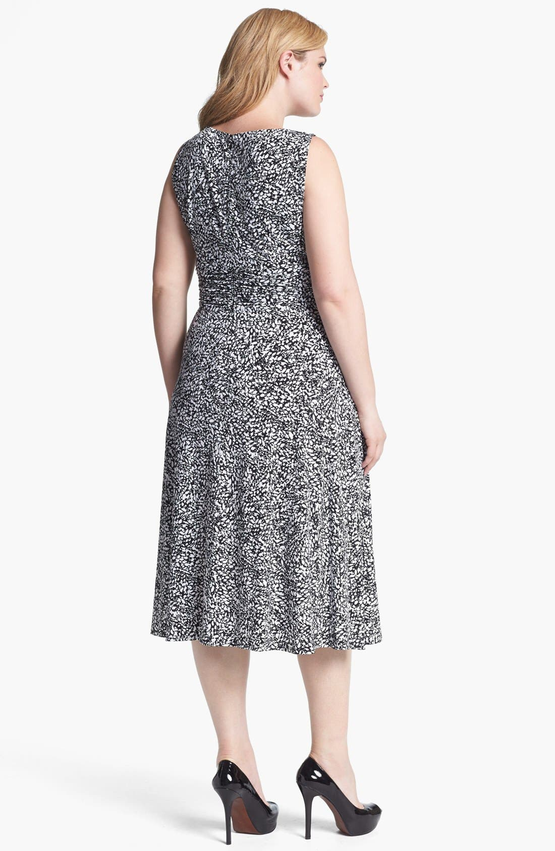 Alternate Image 2  - Jessica Howard Print Sleeveless Jersey Dress (Plus Size)