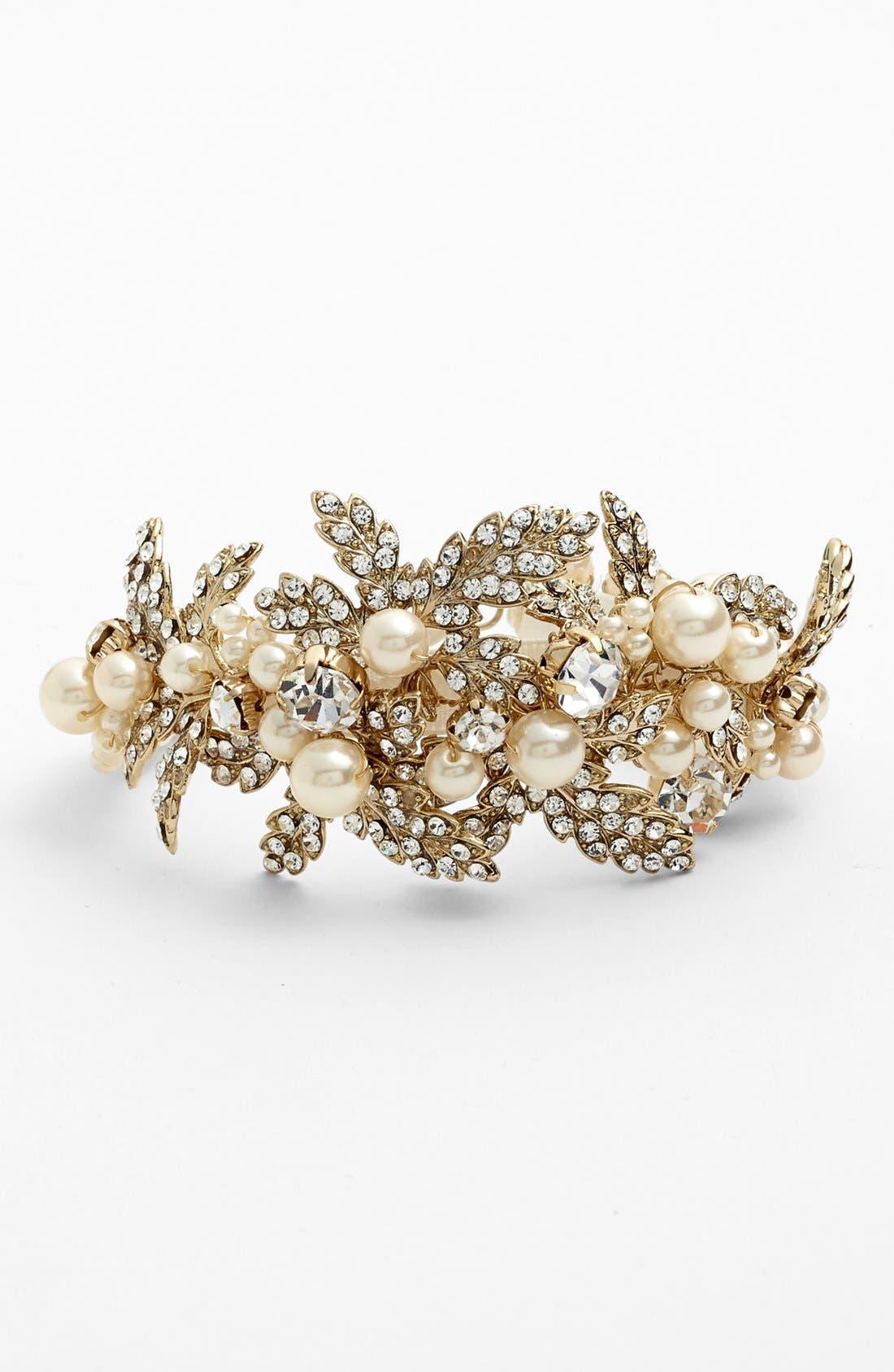 Alternate Image 1 Selected - Nina 'Hallie' Faux Pearl & Crystal Bracelet