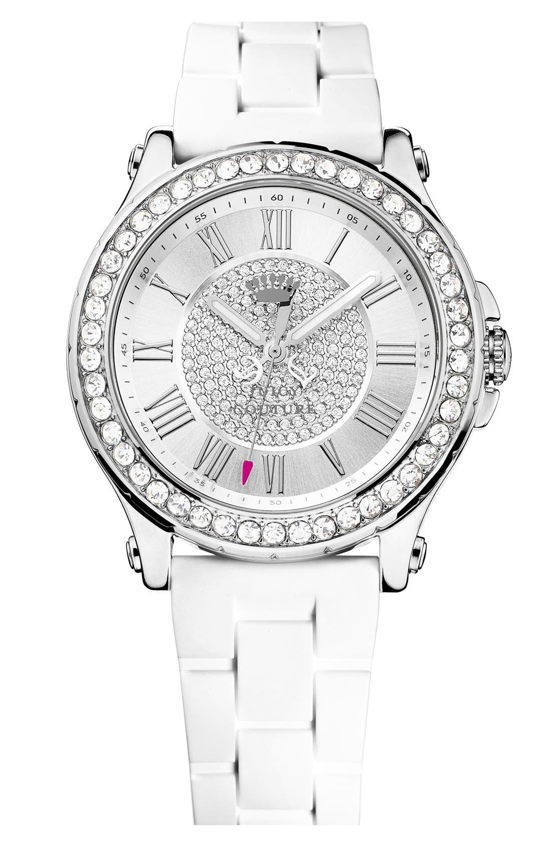 Main Image - Juicy Couture 'Pedigree' Pavé Dial Jell Strap Watch, 38mm