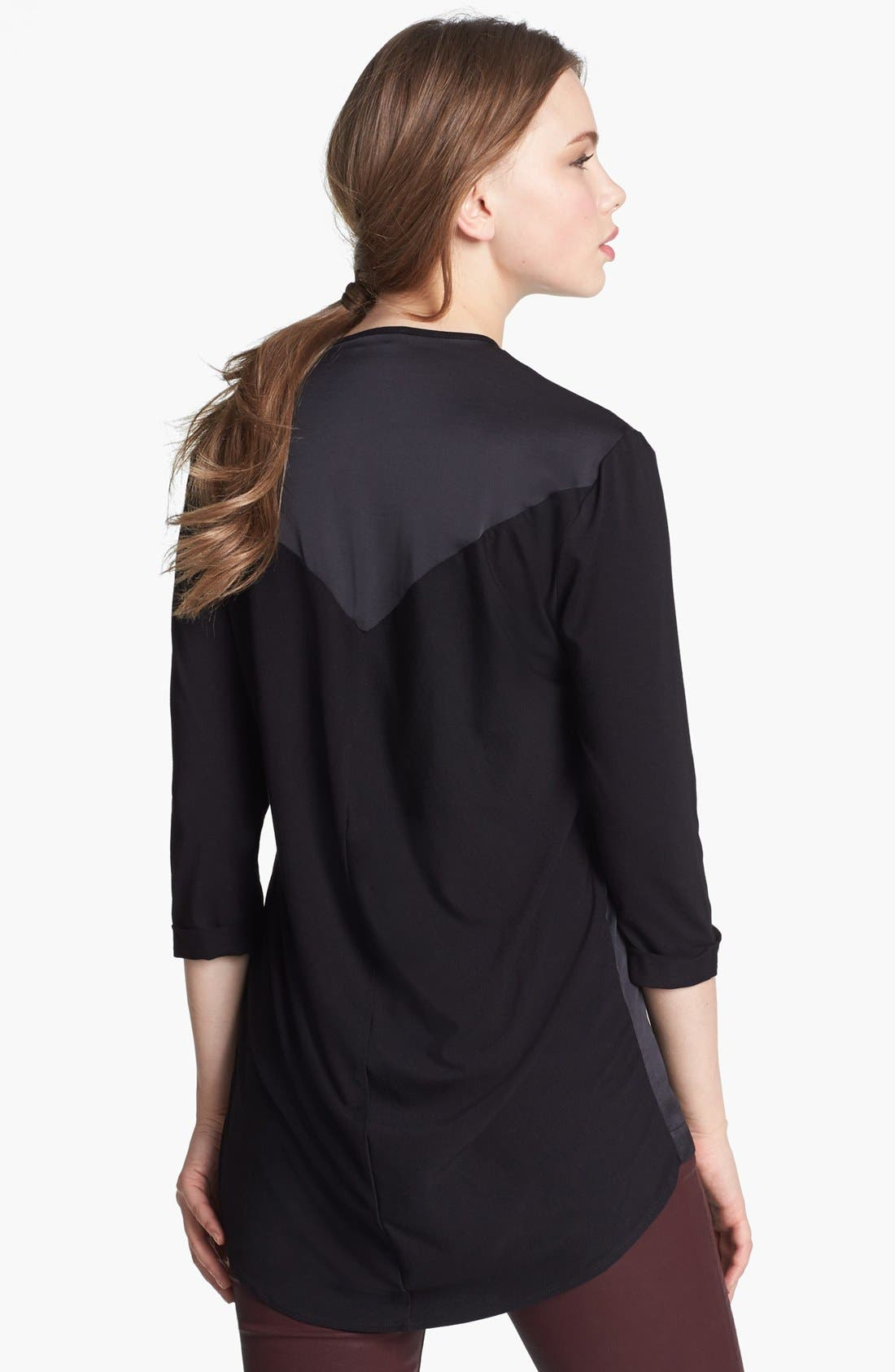 Alternate Image 2  - Vince Camuto Zip Placket Mixed Media Top (Online Only)
