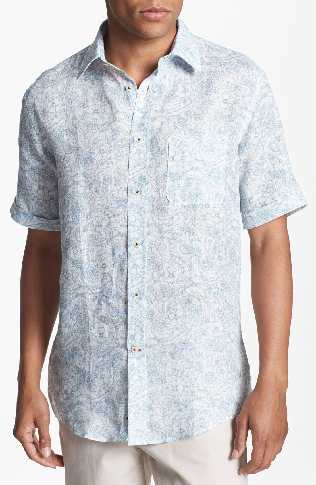 Main Image - Benson Paisley Short Sleeve Linen Sport Shirt