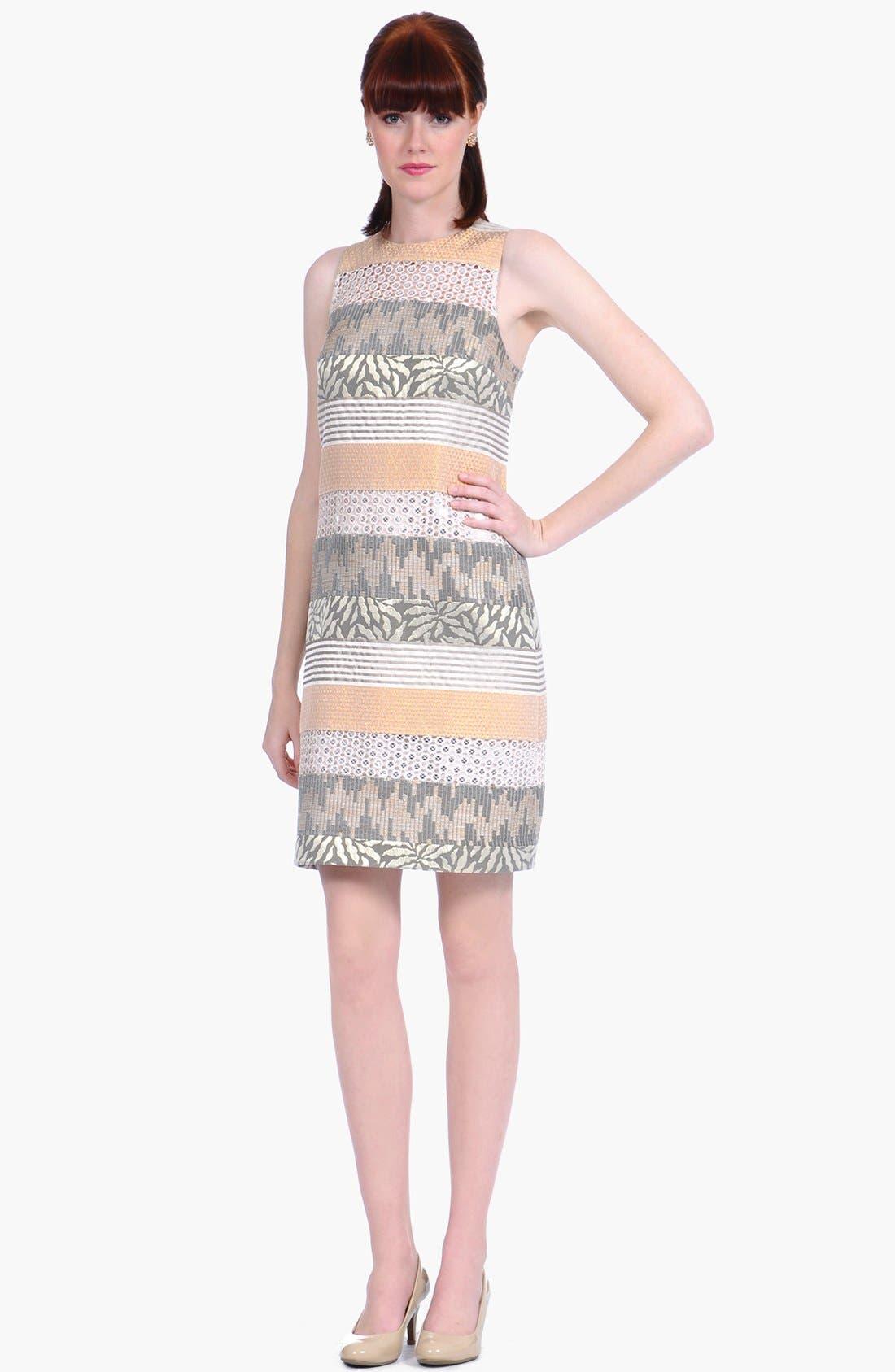 Alternate Image 1 Selected - Kay Unger Metallic Jacquard & Lace Sheath Dress