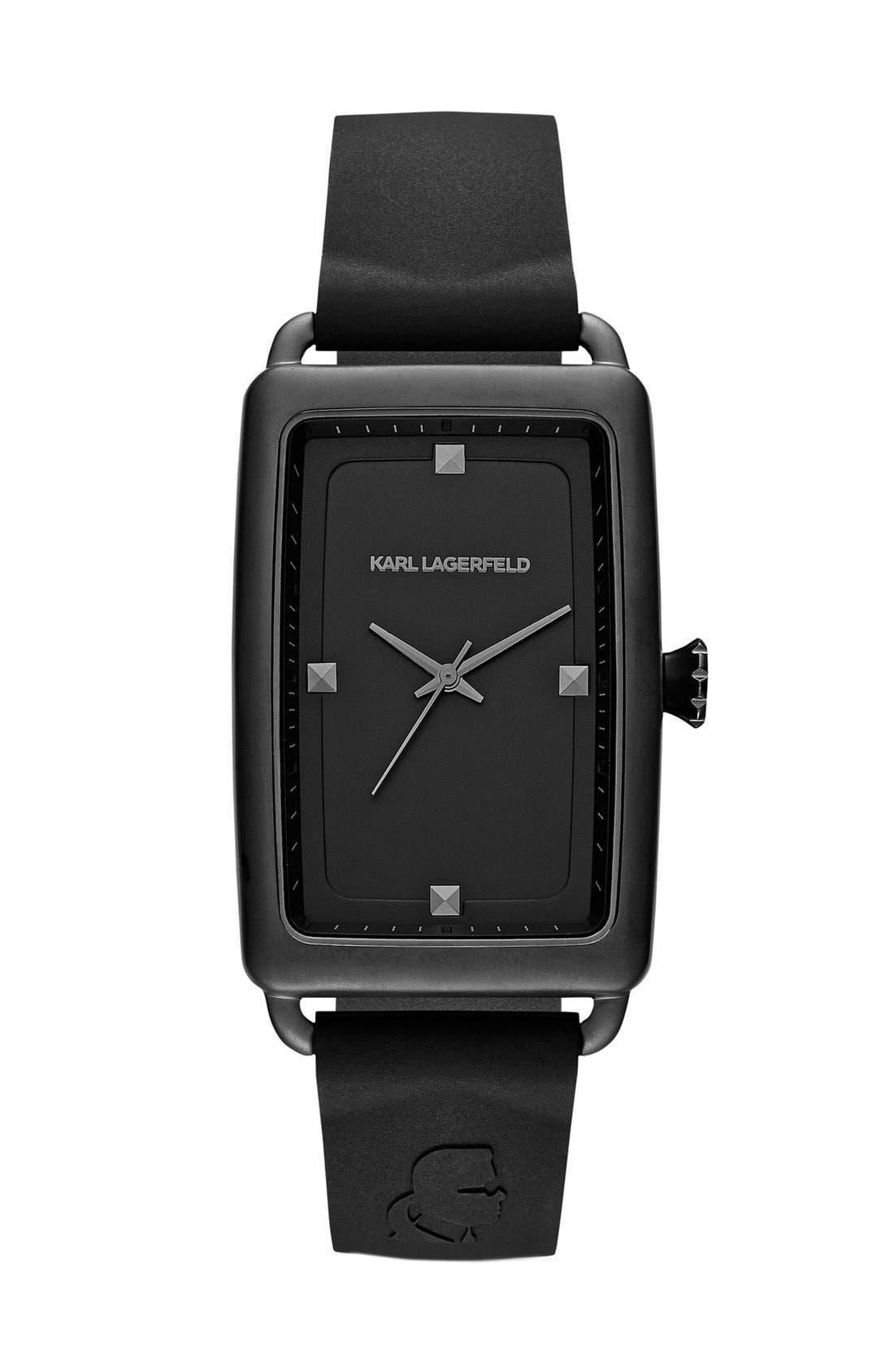 Alternate Image 1 Selected - KARL LAGERFELD 'Kourbe' Rectangular Watch, 32mm x 48mm