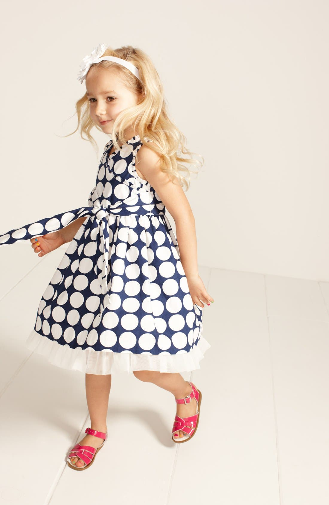 Alternate Image 1 Selected - Marmelatta Dress & Hoy Shoe Salt-Water® Sandal (Toddler Girls, Little Girls & Big Girls)