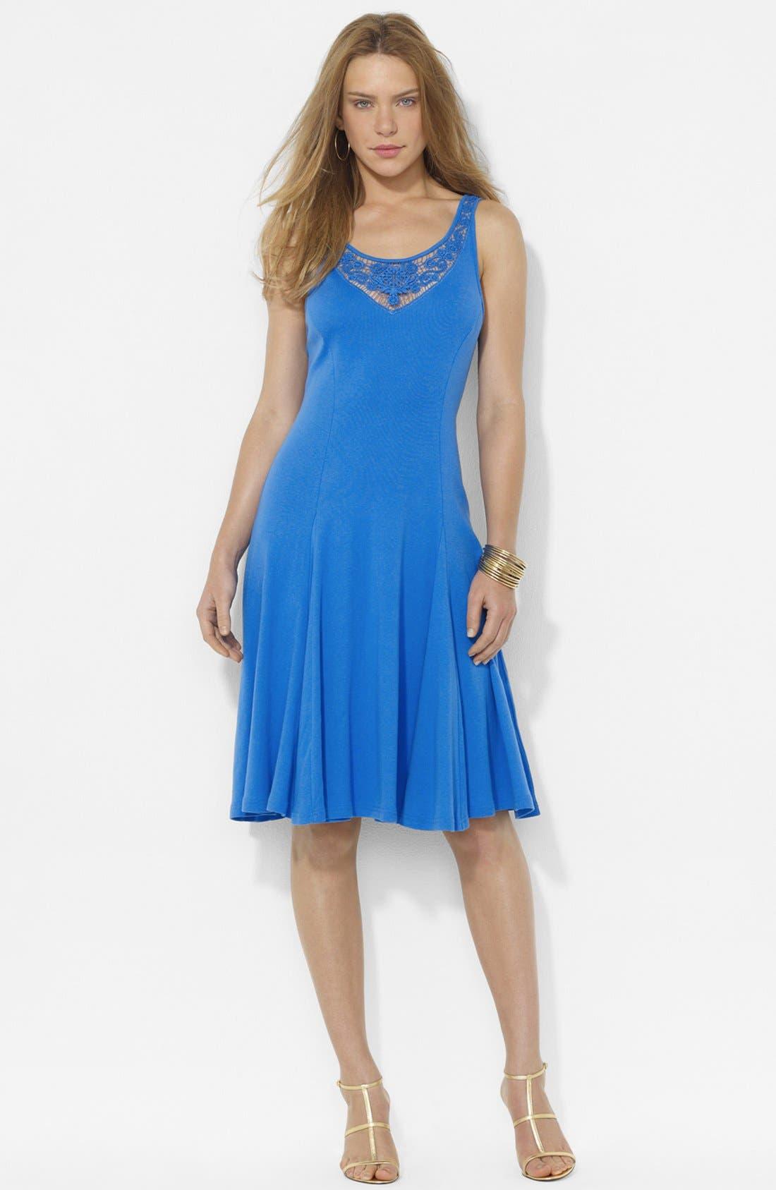 Alternate Image 1 Selected - Lauren Ralph Lauren Lace Inset Sleeveless Dress