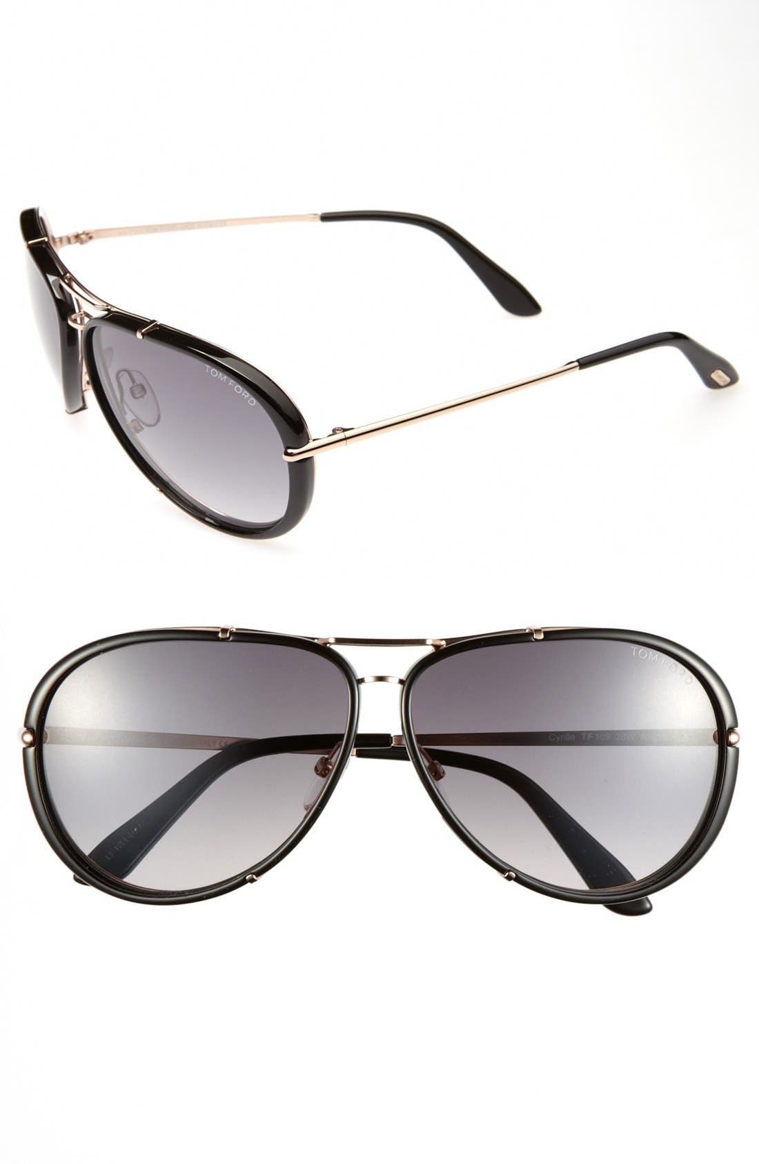 Alternate Image 1 Selected - Tom Ford 'Cyrille' 63mm Aviator Sunglasses