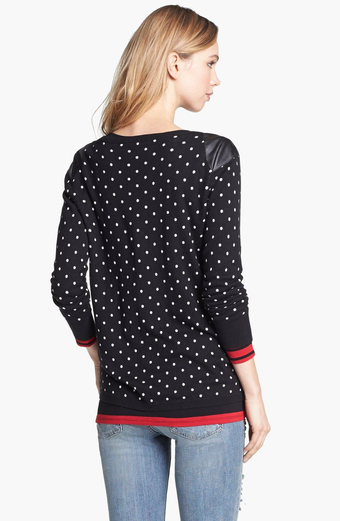 Alternate Image 3  - Two by Vince Camuto Faux Leather Shoulder Dot Sweater