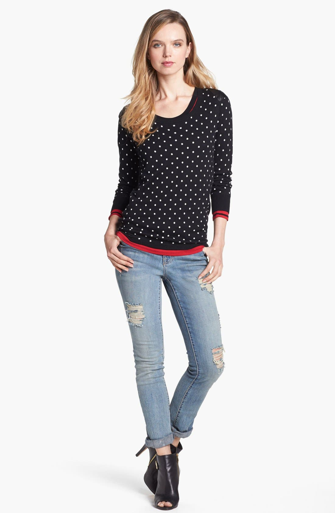 Alternate Image 1 Selected - Two by Vince Camuto Faux Leather Shoulder Dot Sweater