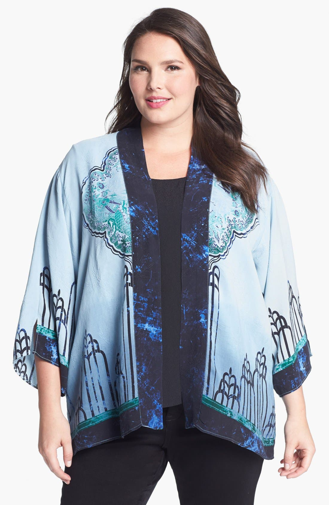 Main Image - Citron Deco Print Silk Jacket (Plus Size)