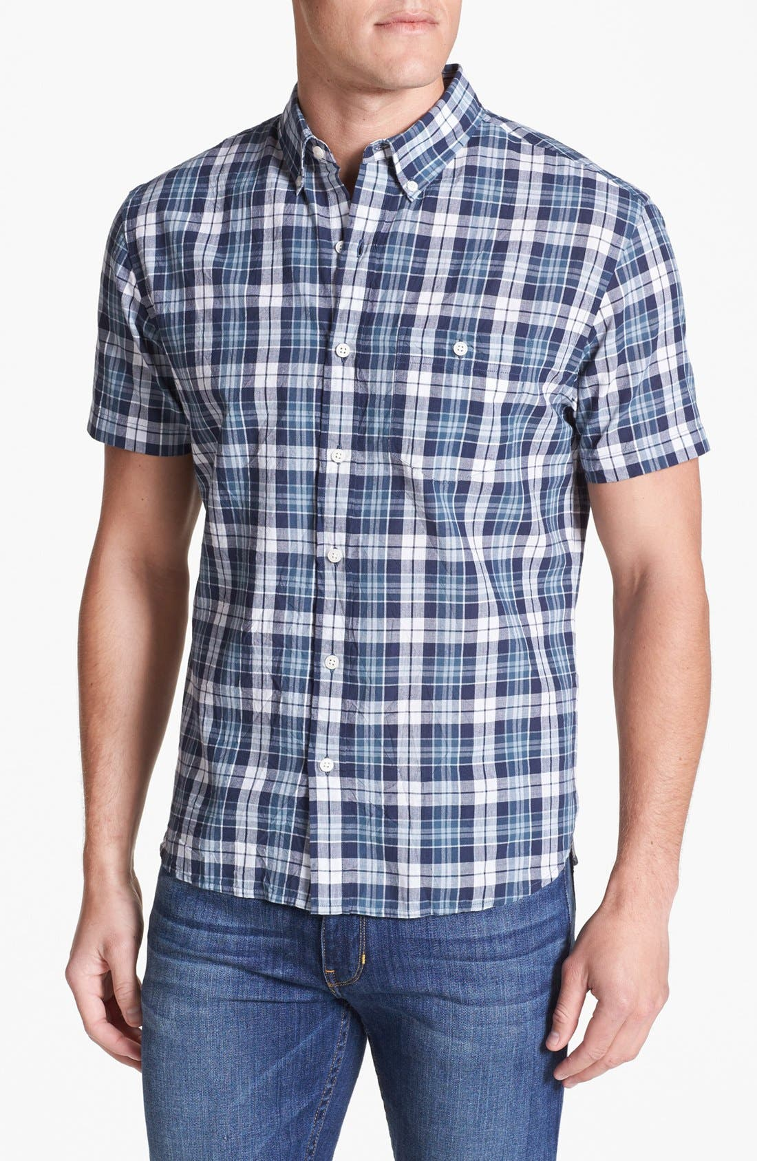 Main Image - Bonobos Madras Plaid Standard Fit Short Sleeve Sport Shirt