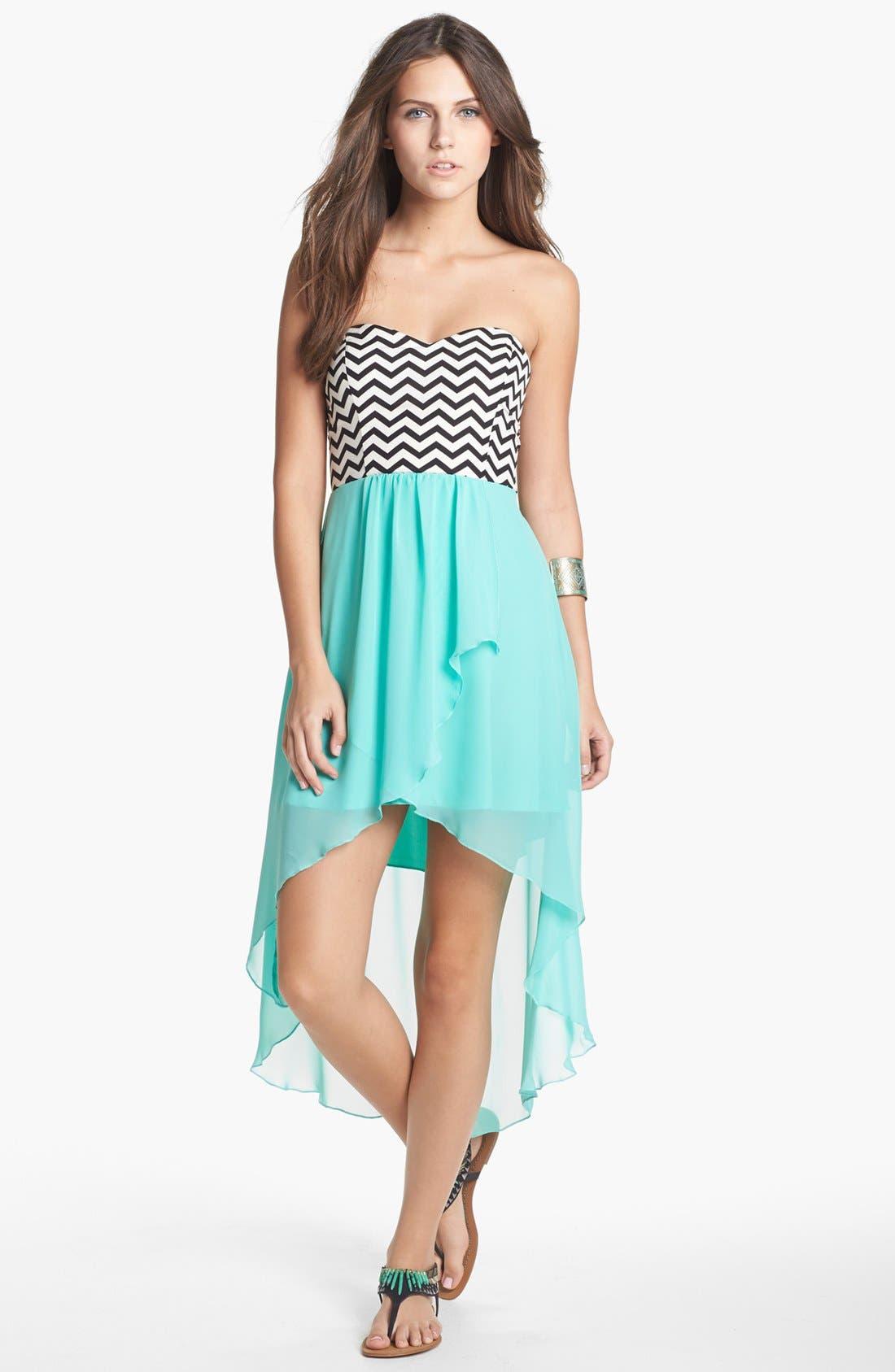 Alternate Image 1 Selected - Trixxi Zigzag Print High/Low Dress (Juniors)