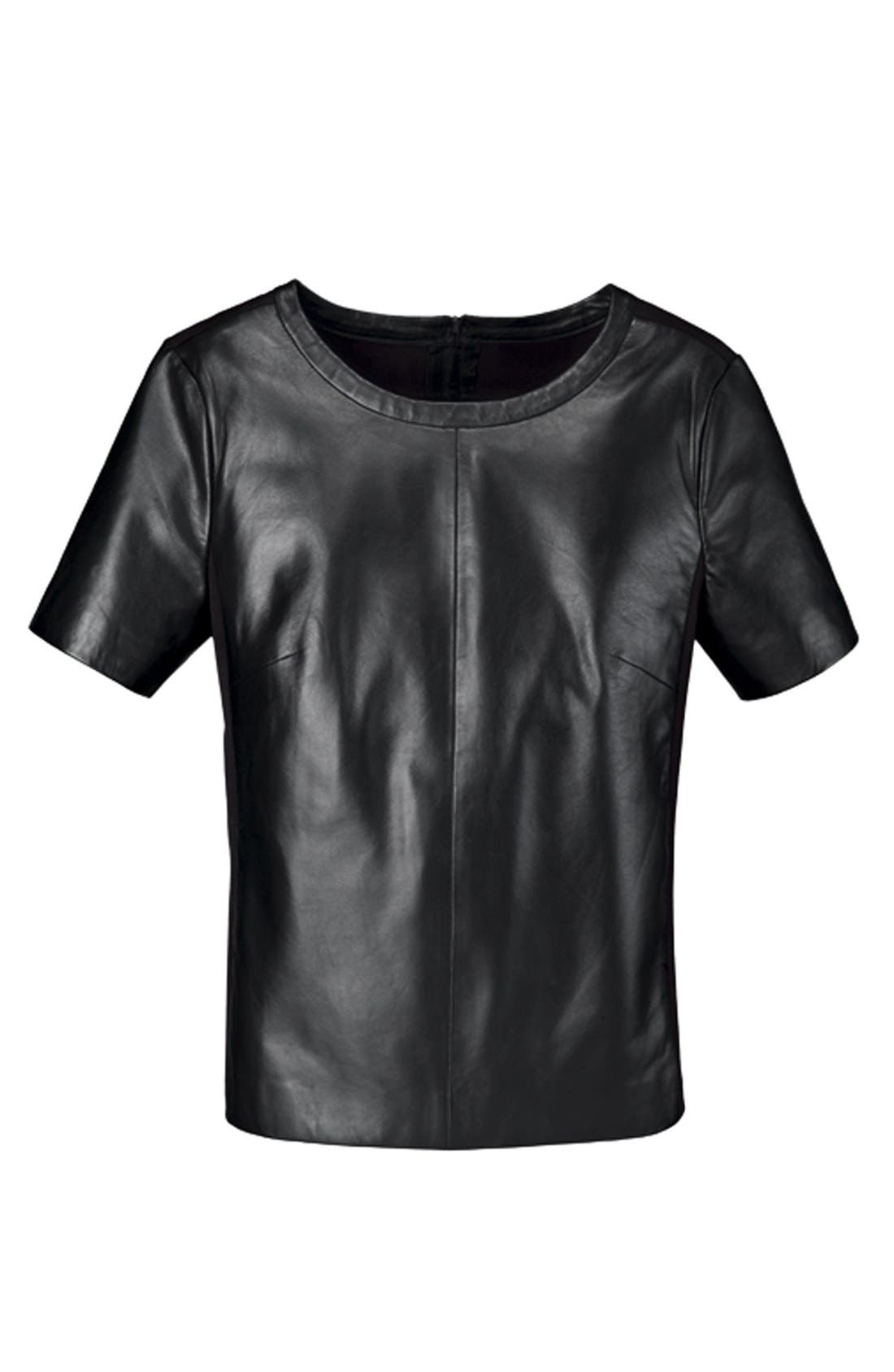 Alternate Image 6  - Halogen® Leather Front Top (Regular & Petite)